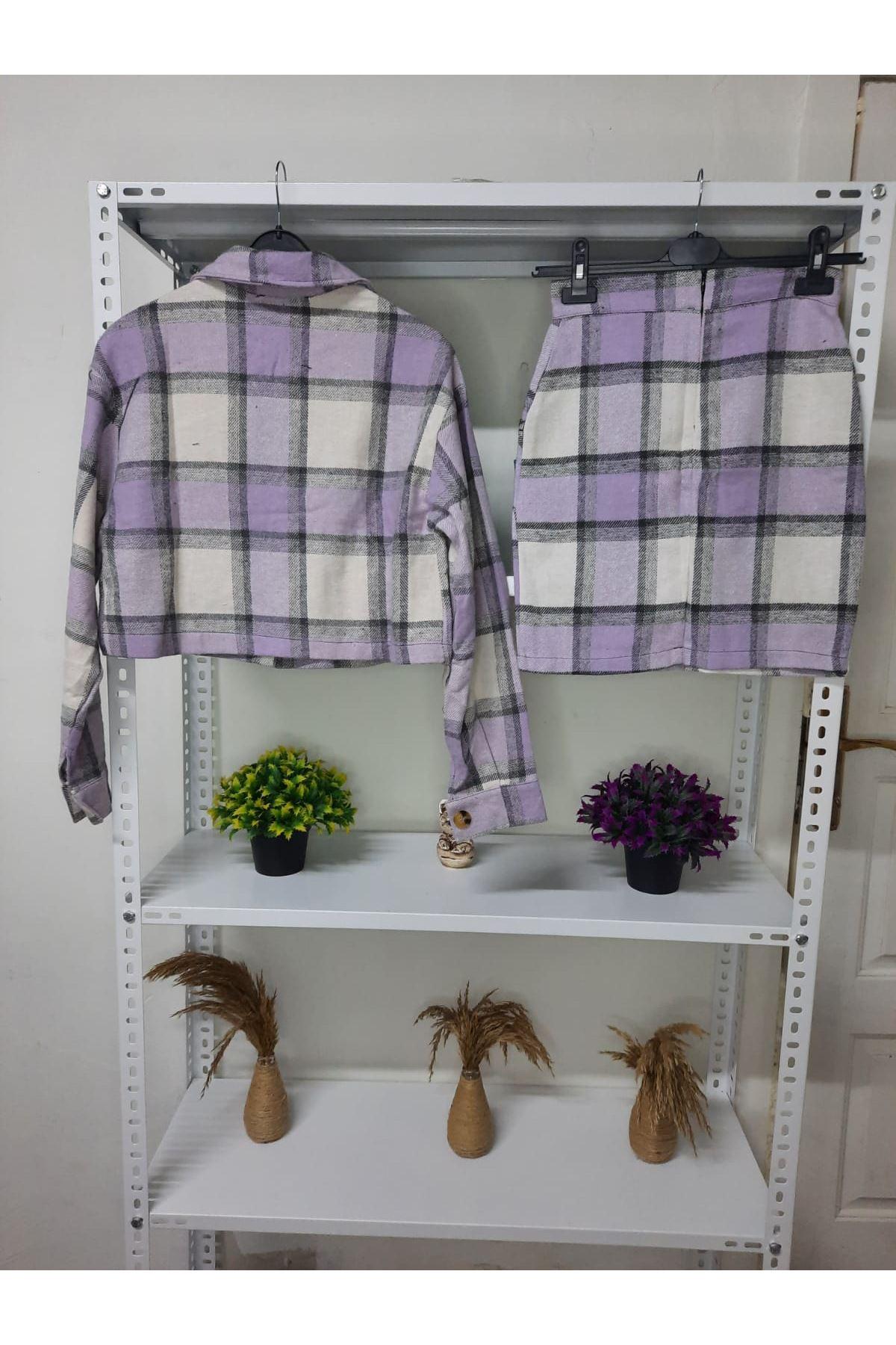 Ekose Desen Etek Ceket Takım - LİLA