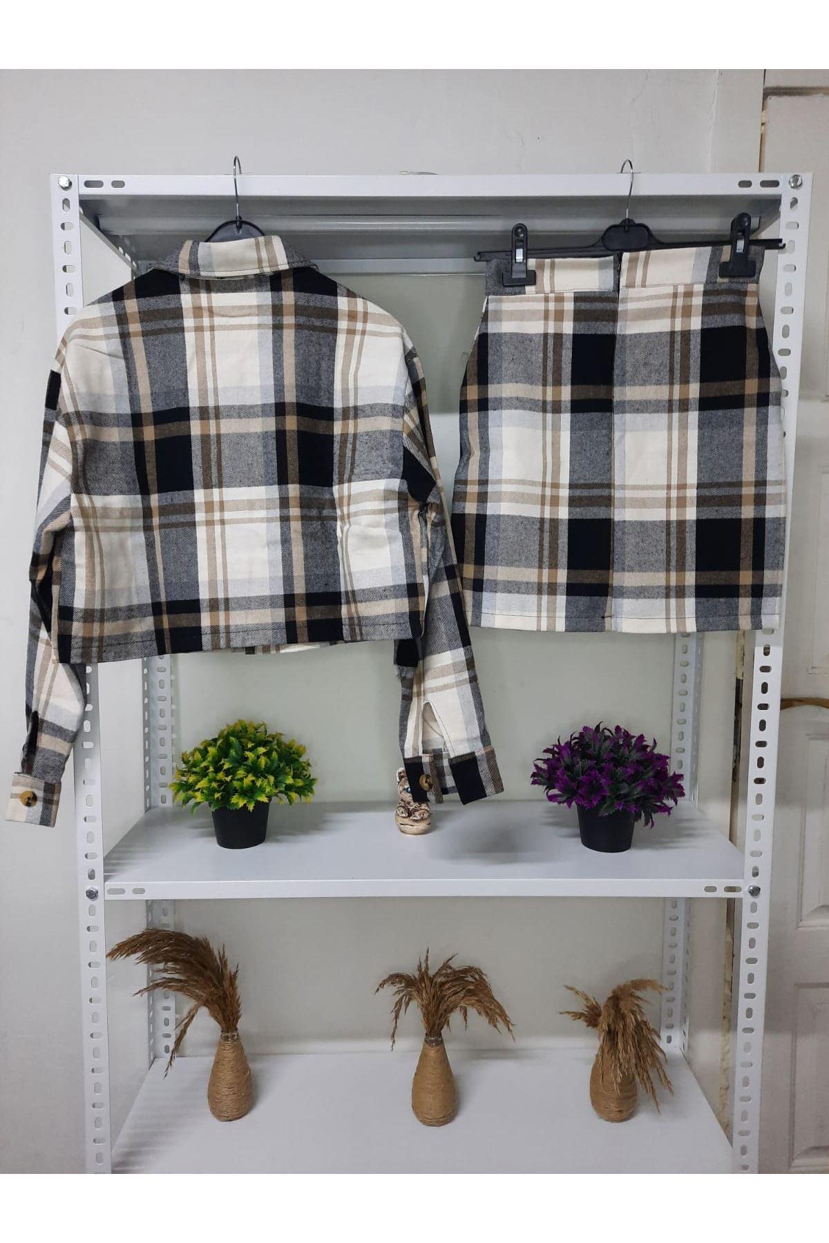 Ekose Desen Etek Ceket Takım - BEJ