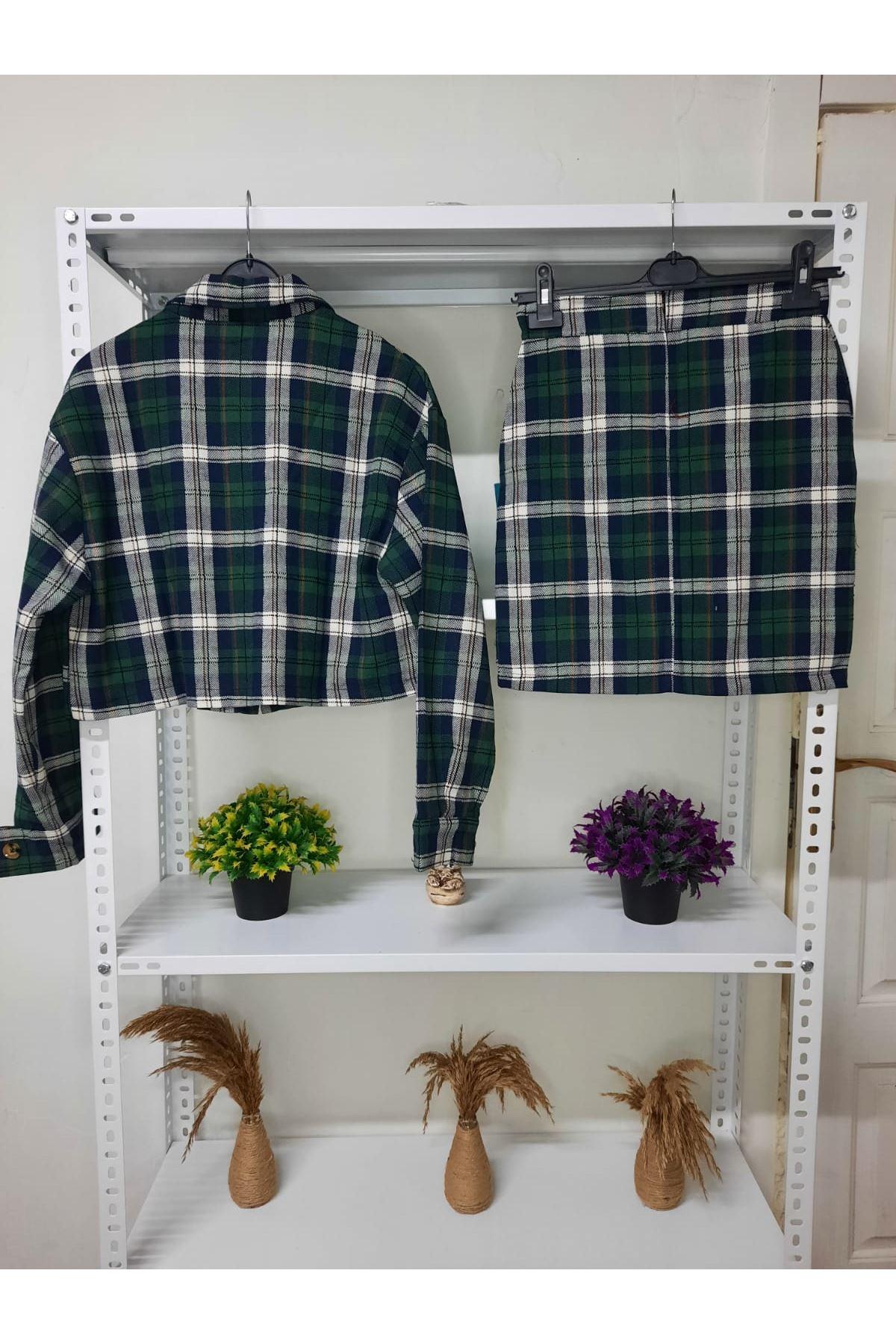 Ekose Desen Etek Ceket Takım - HAKİ