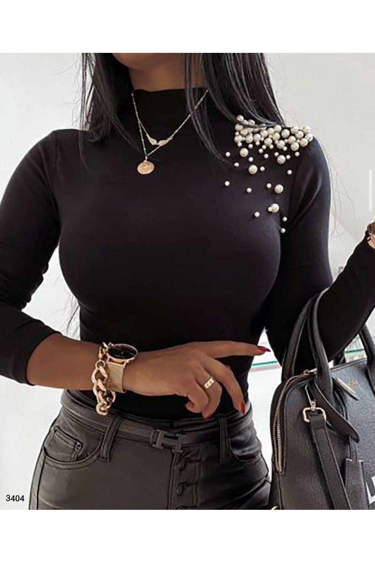 Omuz İnci Detaylı Bluz - siyah