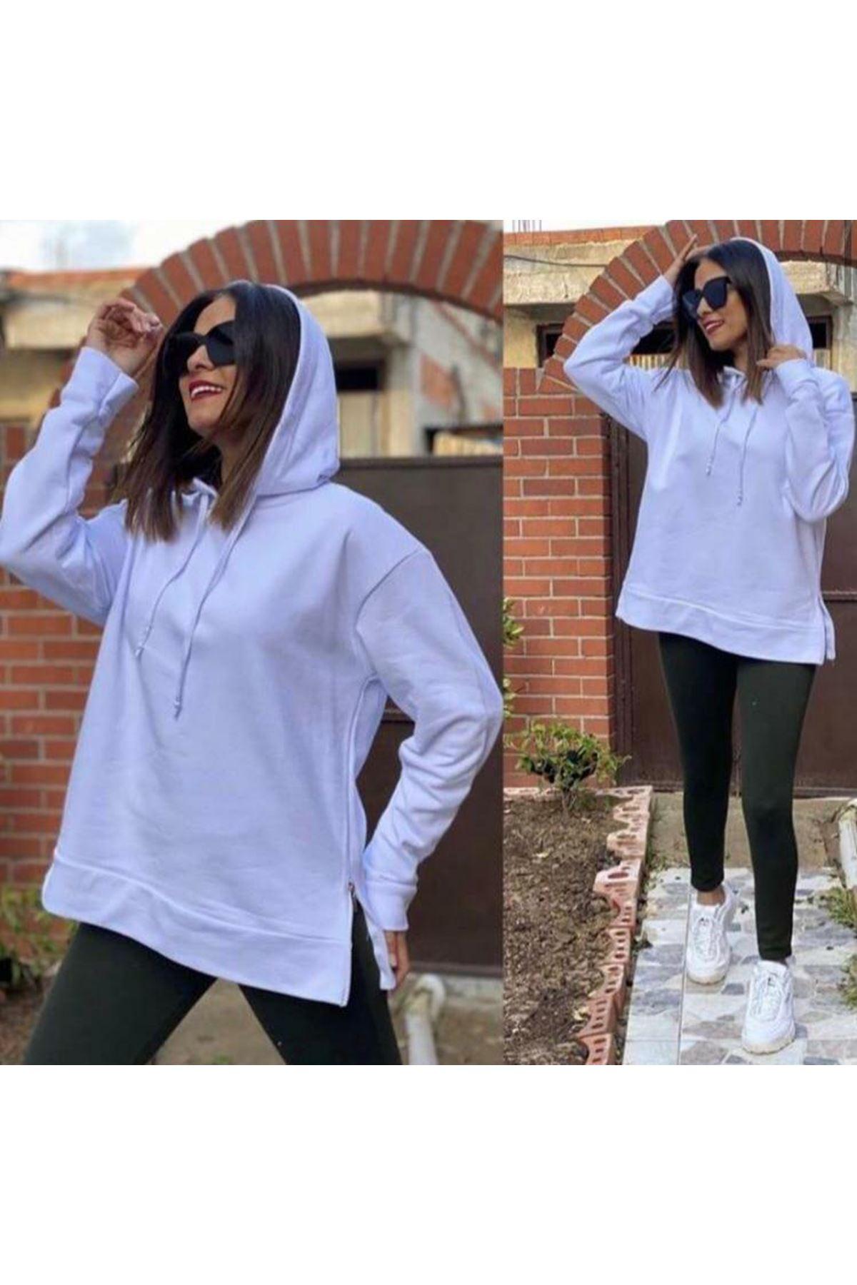 Yanı Fermuarlı Sweatshirt - BEYAZ