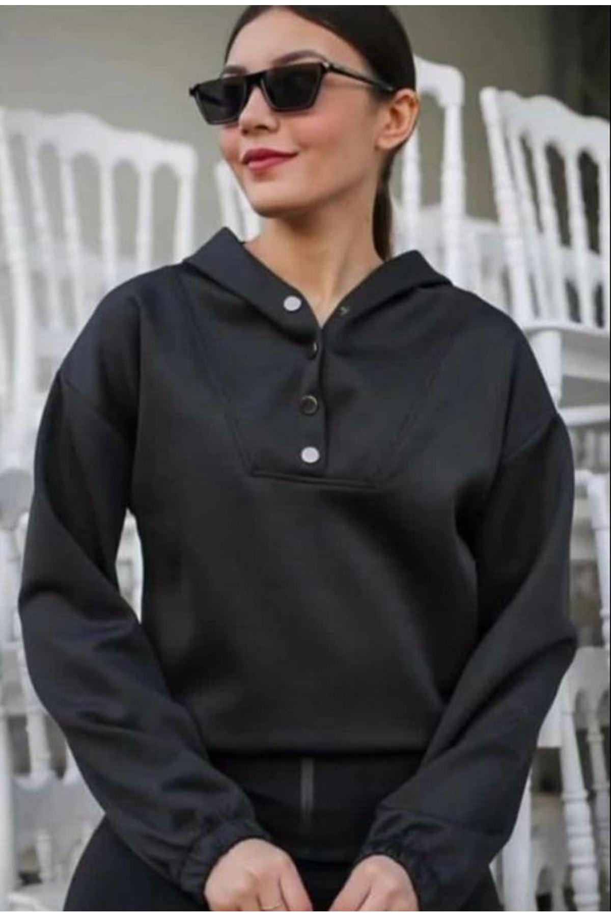 Scuba Düğmeli Sweatshirt - SİYAH