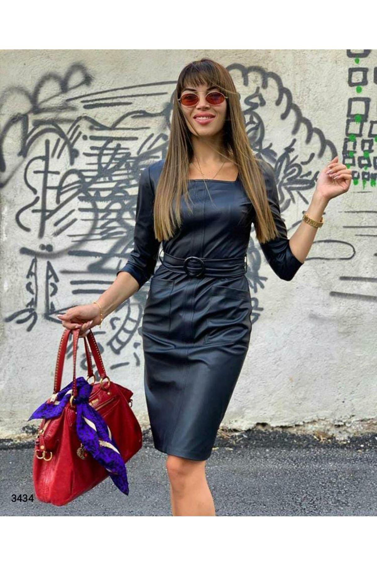 Cep Detaylı Deri Elbise - SİYAH