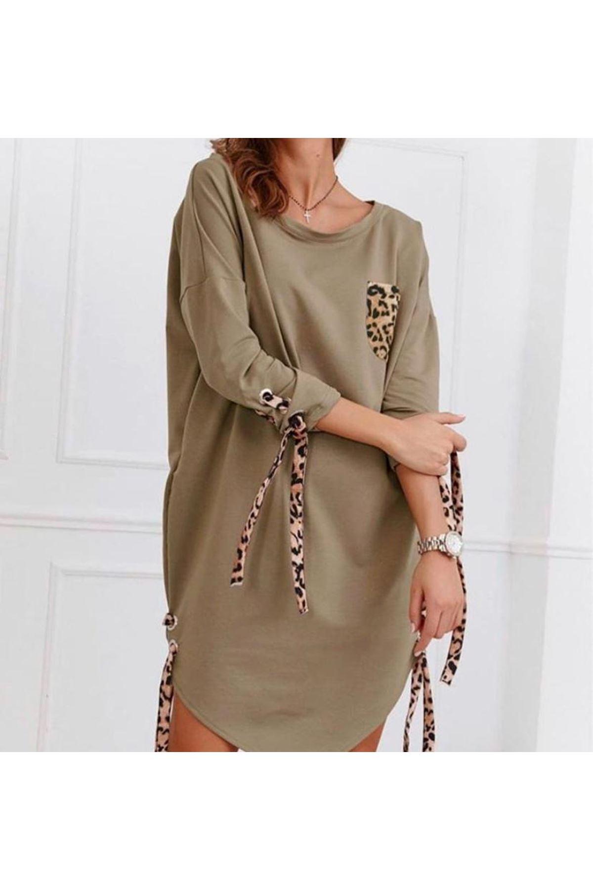 Bağcık ve Leopar Detay Elbise - BEJ