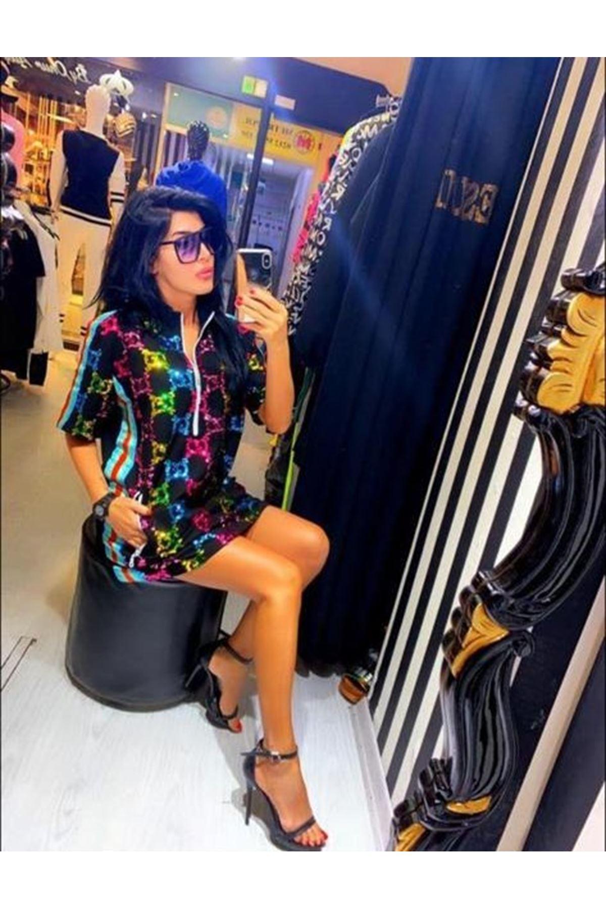GG Desen Elbise - siyah