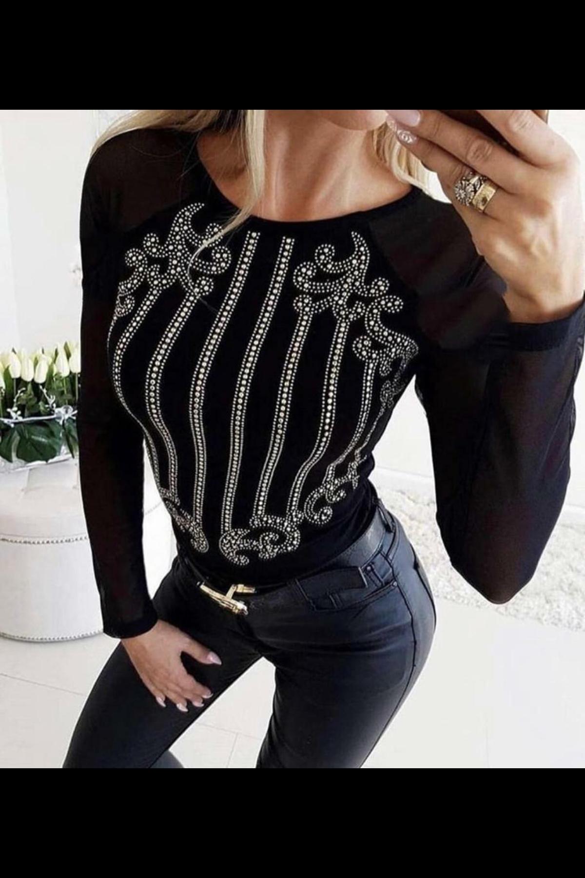 Taş Dizayn Kadife Bluz - siyah