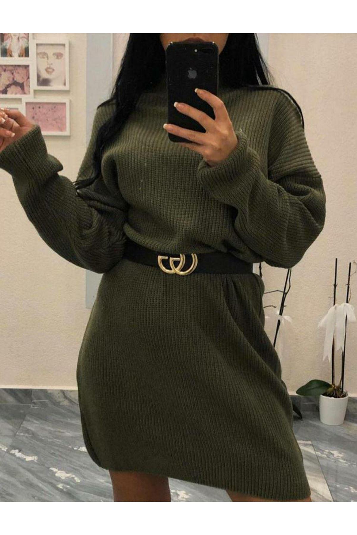 Yarım Boğazlı Triko Elbise - HAKİ
