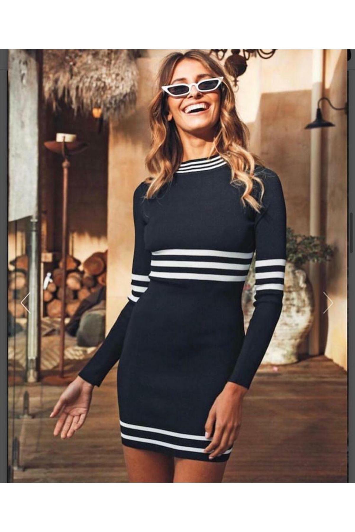 Şeritli Triko Elbise - siyah