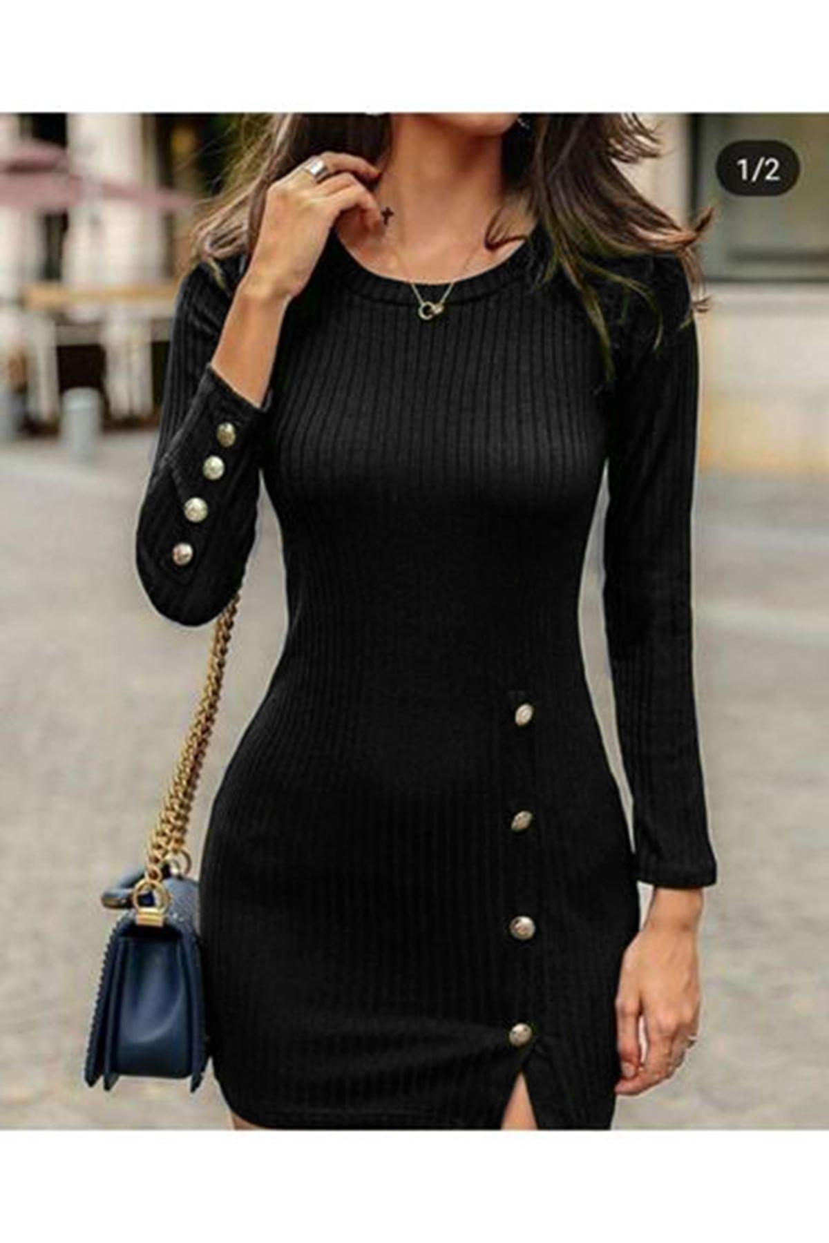 Kaşkorse Düğmeli Elbise - SİYAH