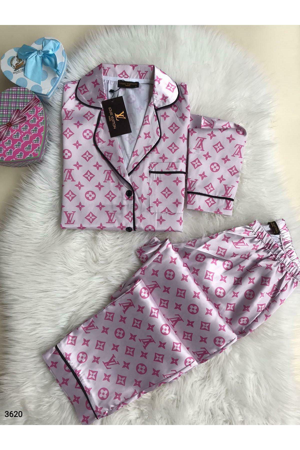 LV Saten Pijama Takım - pudra