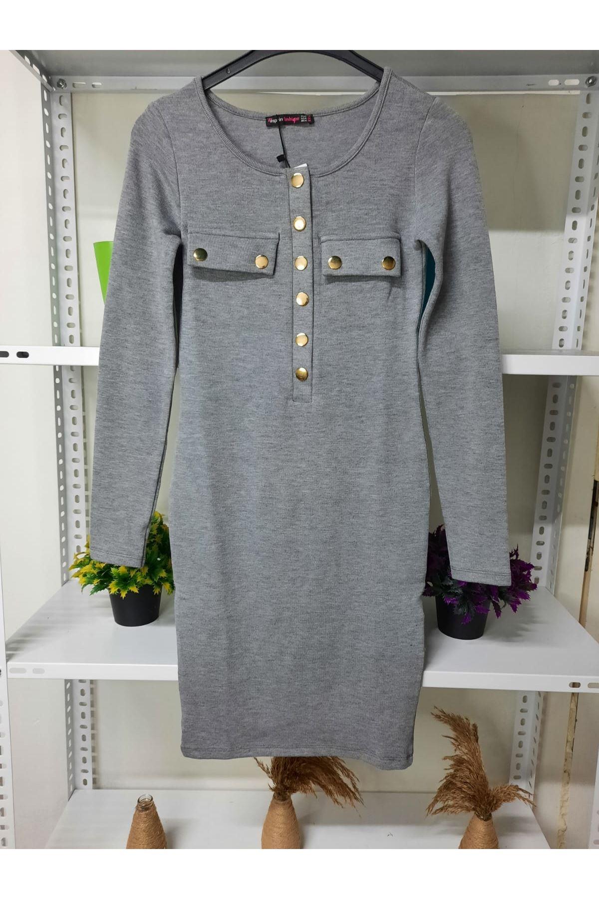 Düğme Detaylı Kaşkorse Elbise - gri