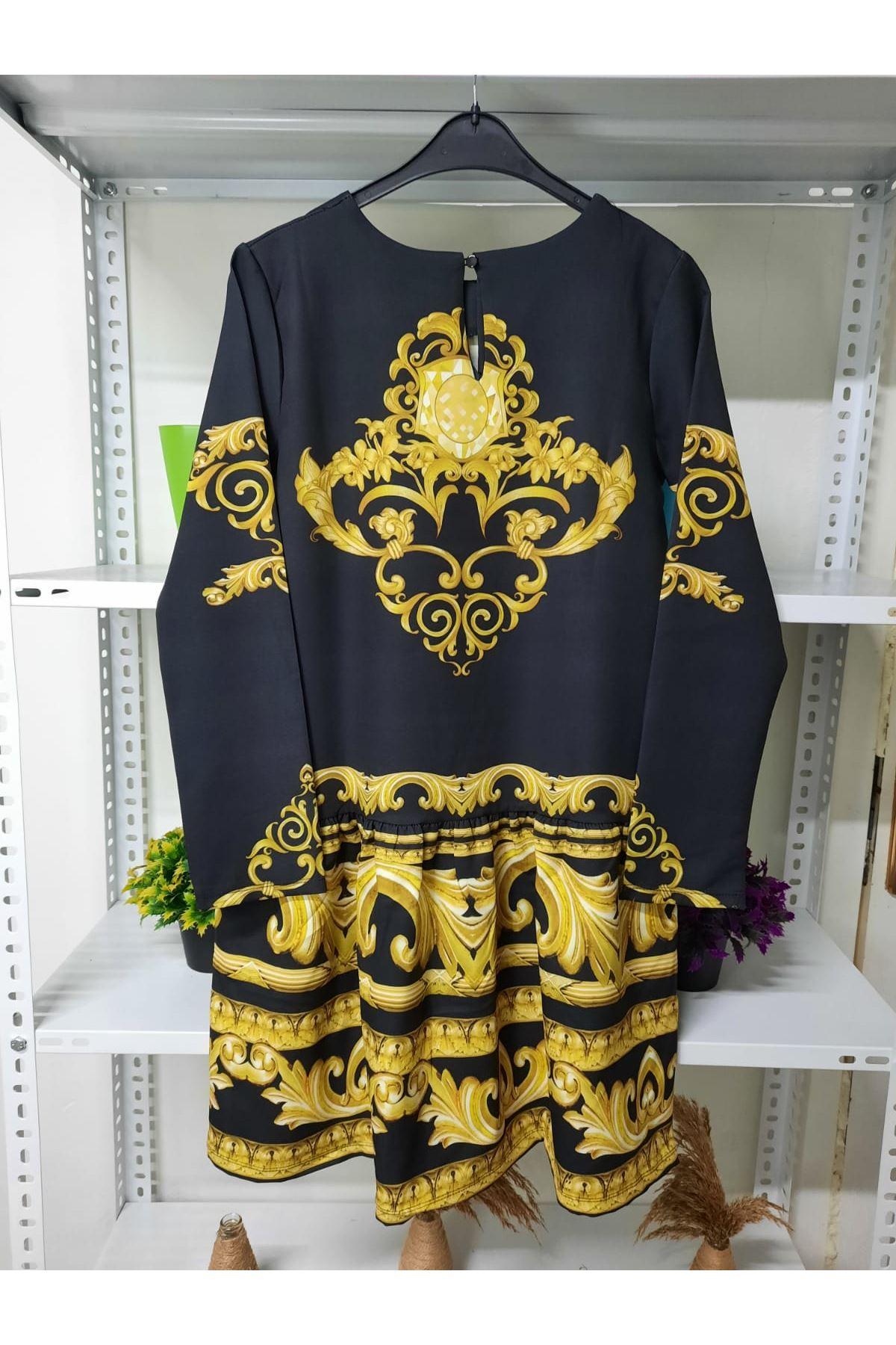 Gold Desen Elbise - siyah