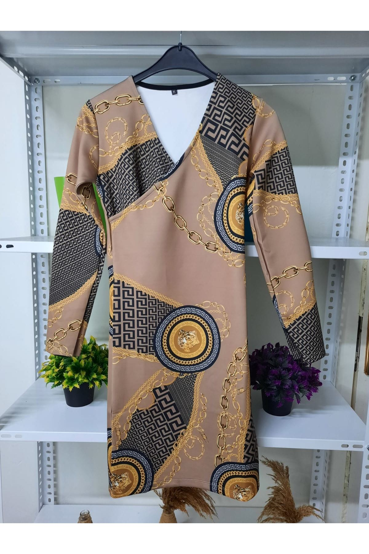 FF Desen Scuba Elbise - bej
