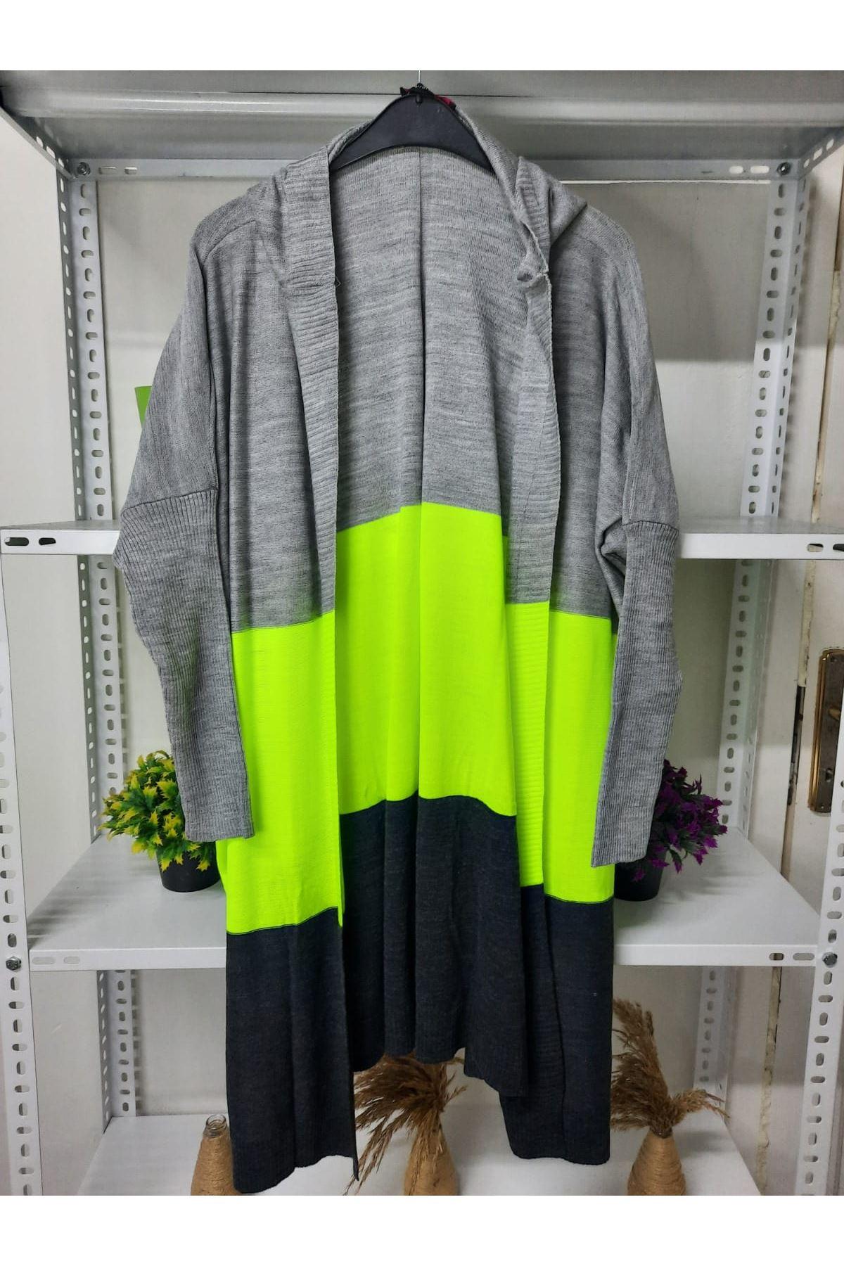 Neon Renk Hırka - yeşil