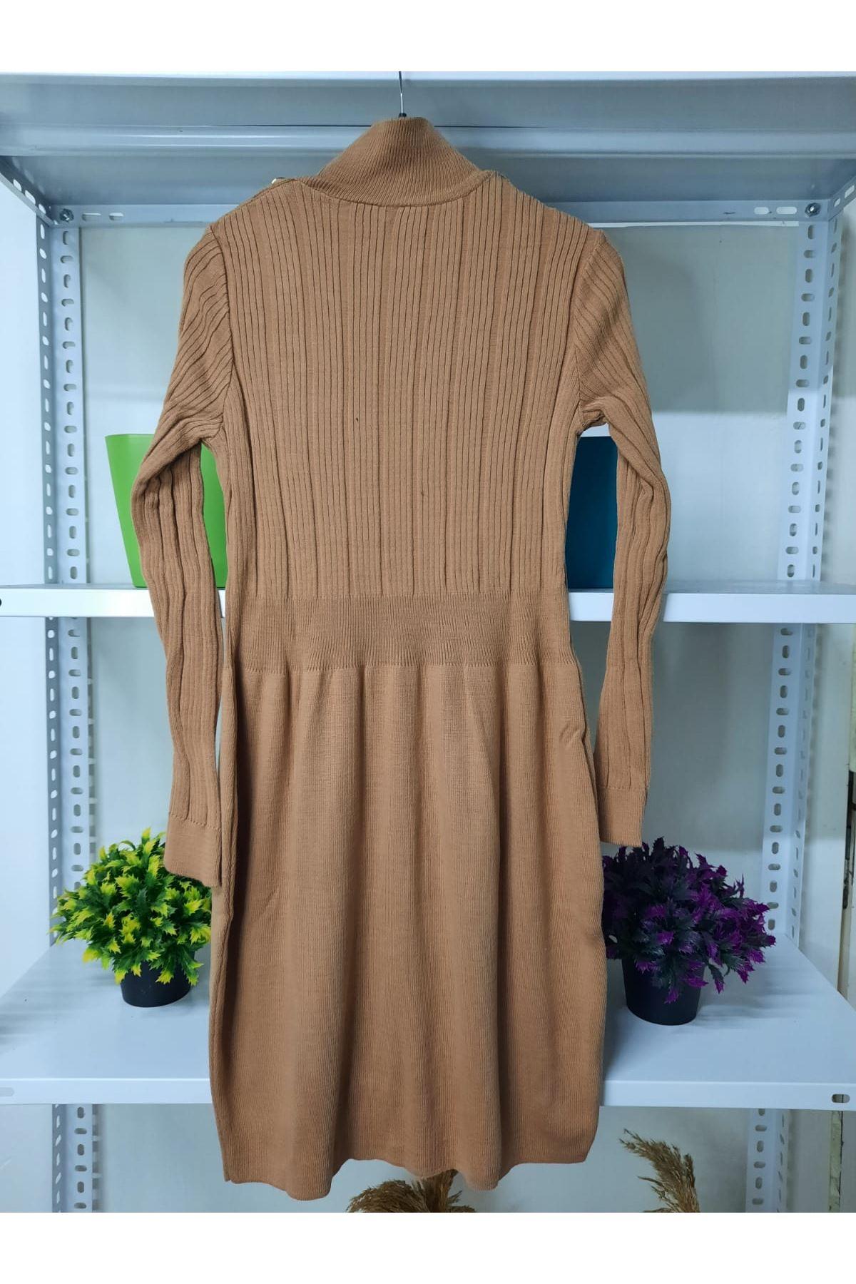 Bel Garnili Triko Elbise - vizon