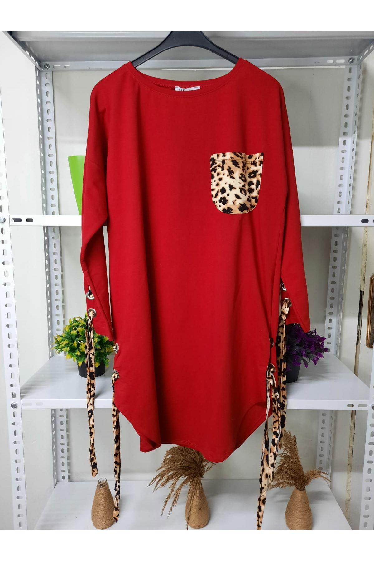 Bağcık ve Leopar Detay Elbise - KIRMIZI