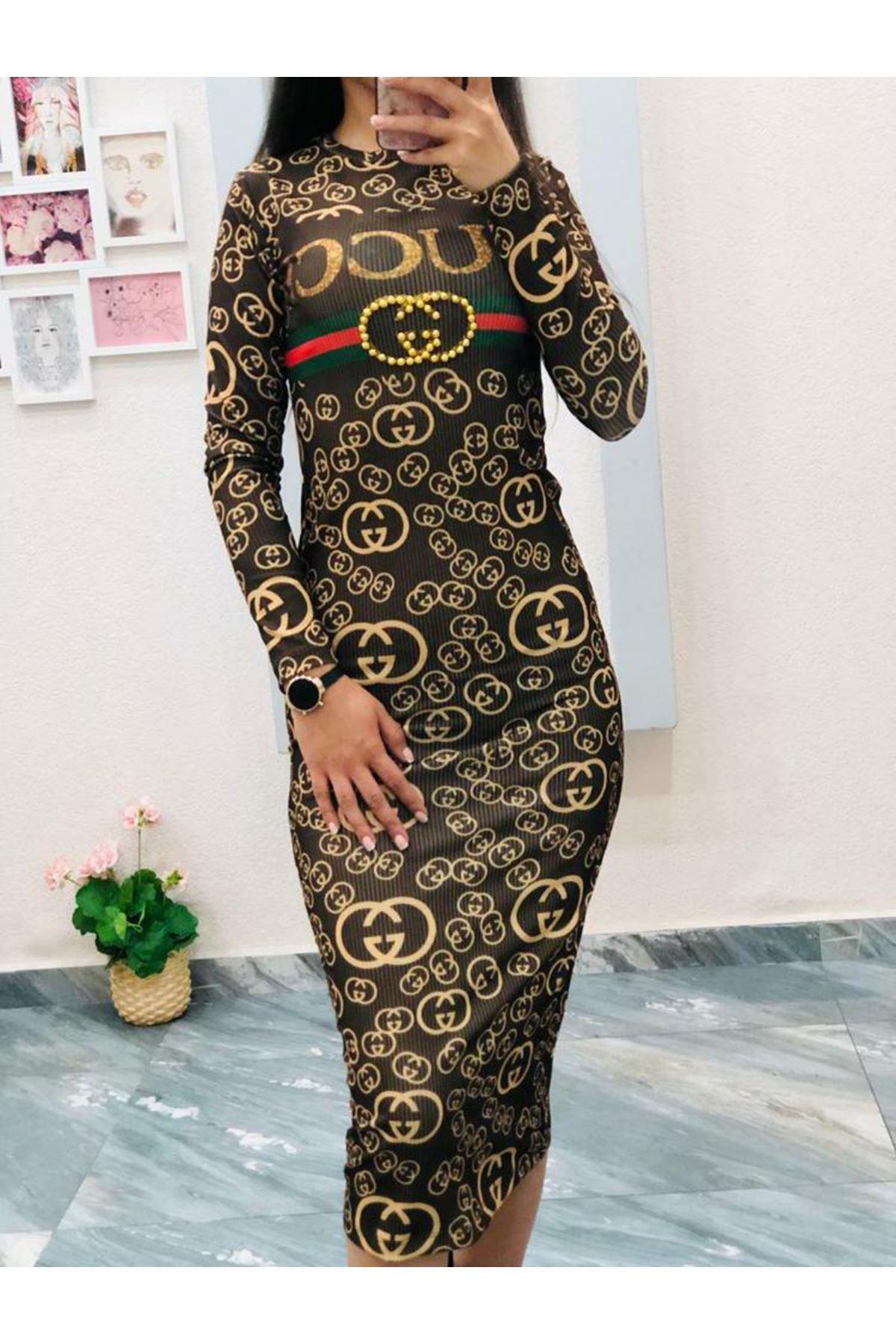 GG Desen Uzun Elbise - SARI
