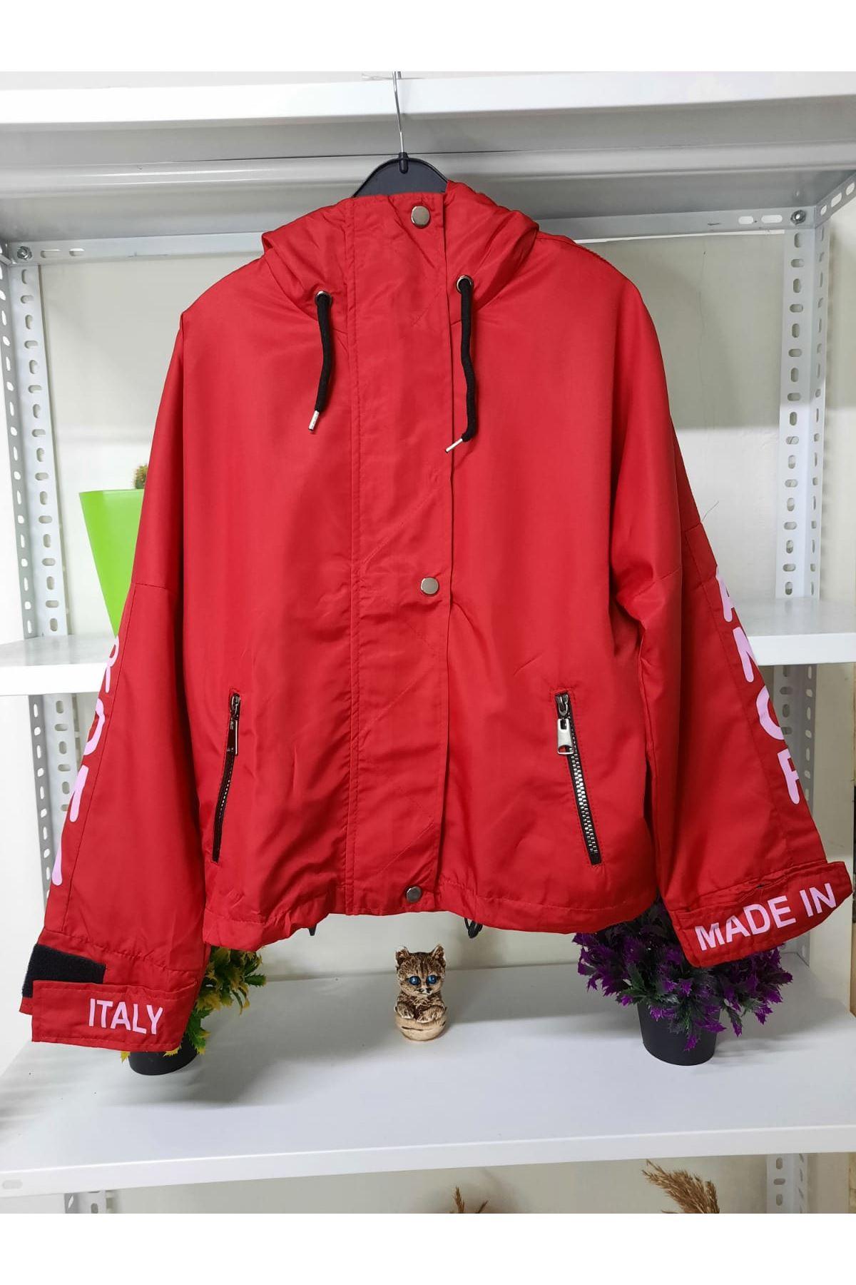 FF Kapüşonlu Yağmurluk - kırmızı