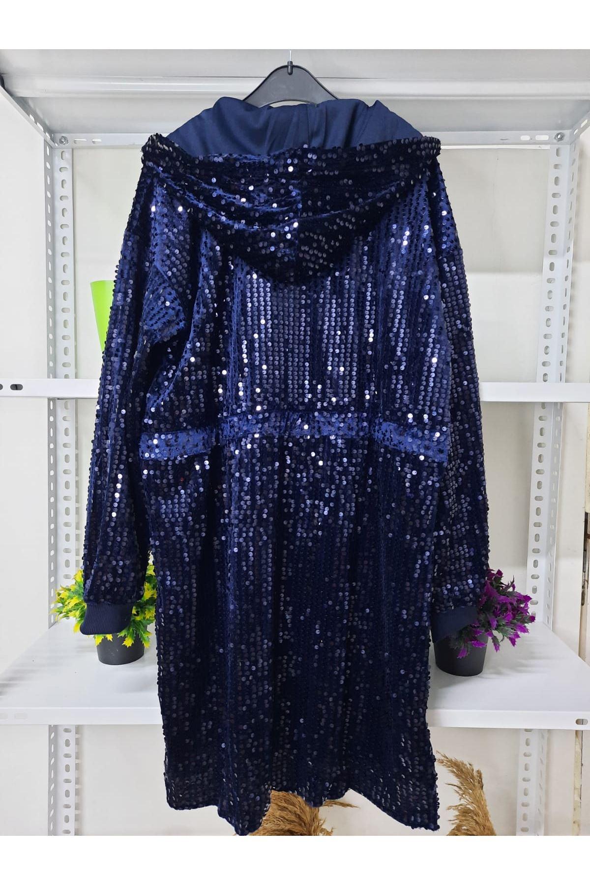 Kapüşonlu Pul Payet Elbise - sax