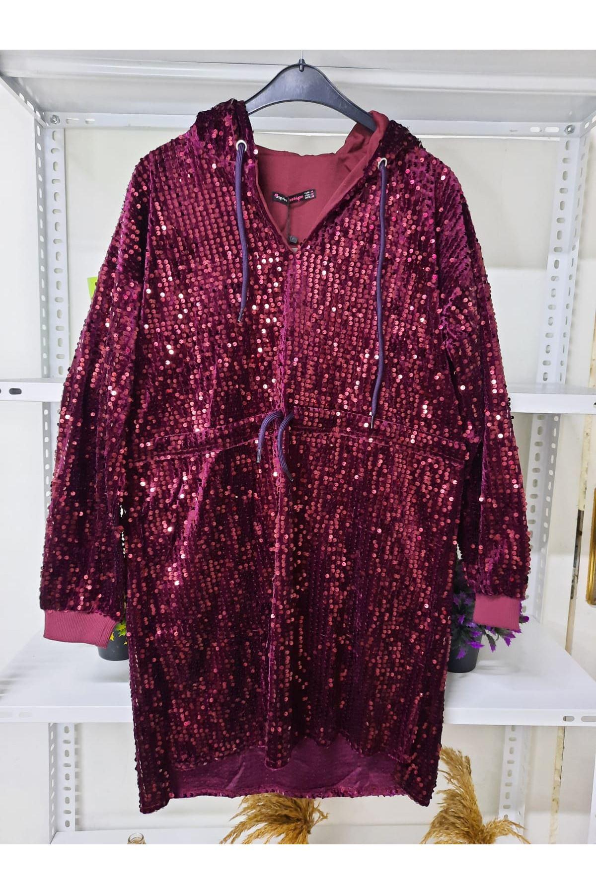 Kapüşonlu Pul Payet Elbise - bordo