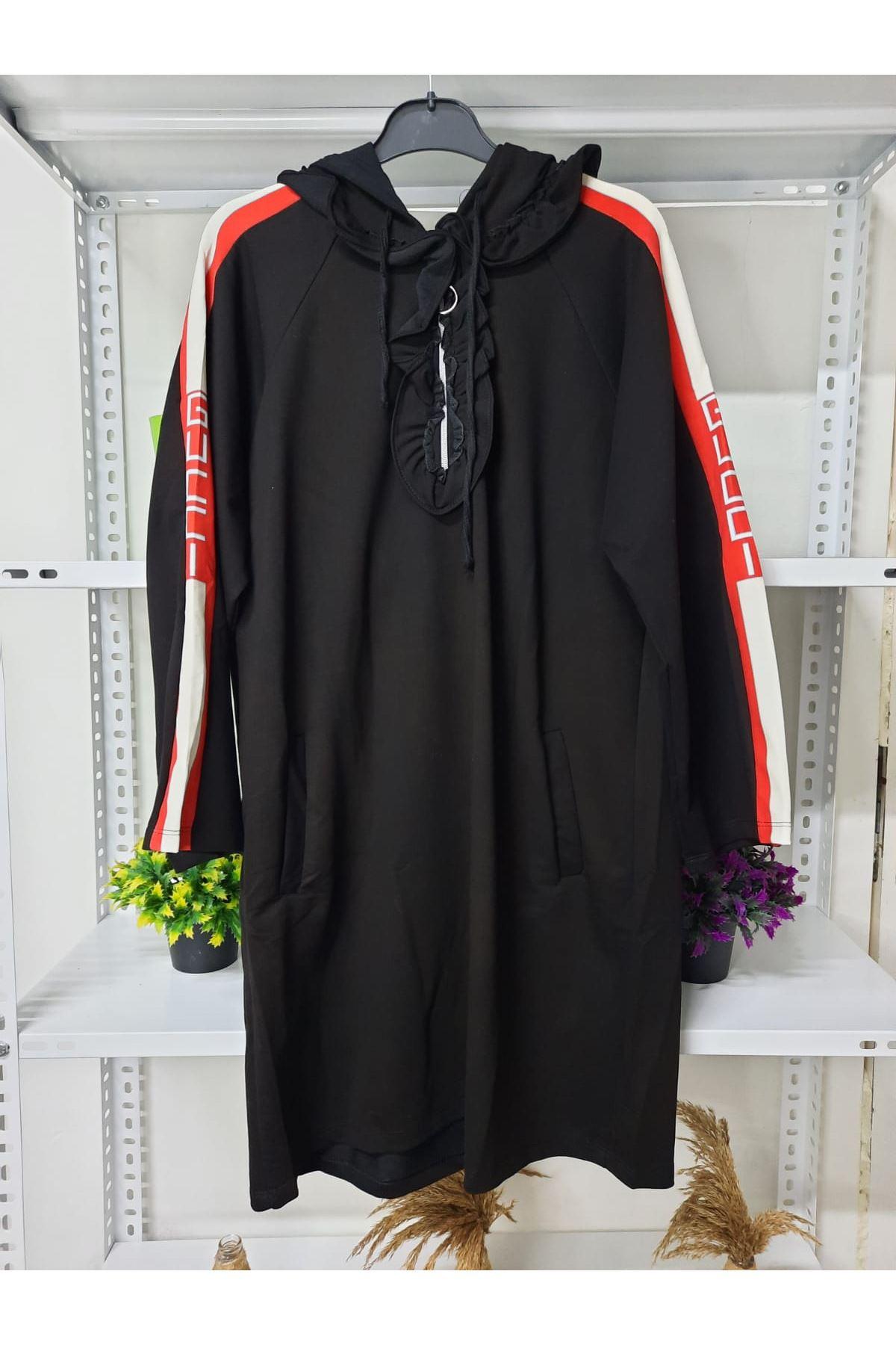 GG Şeritli Elbise - siyah