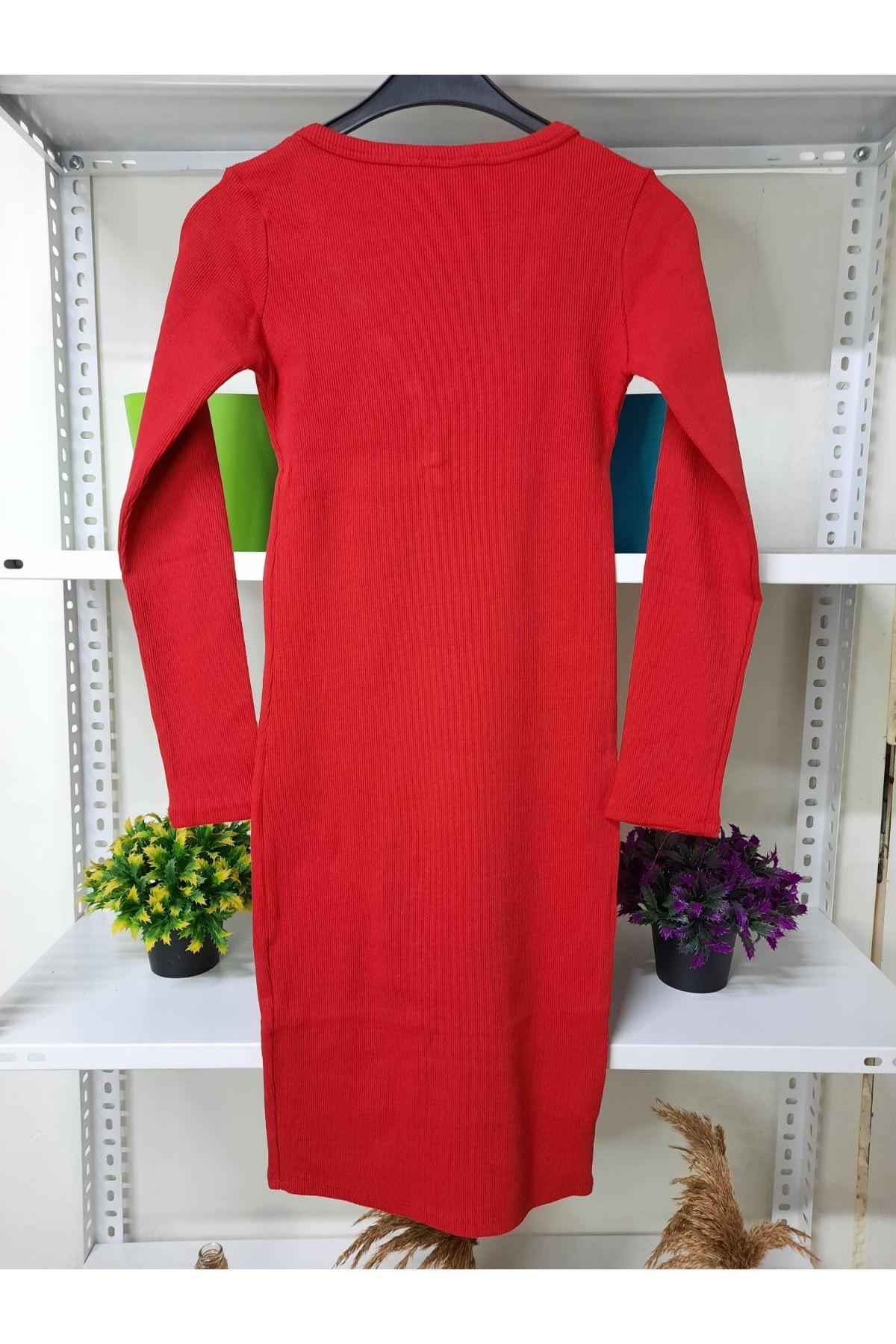 Çıtçıt Detaylı Kaşkorse Elbise - KIRMIZI