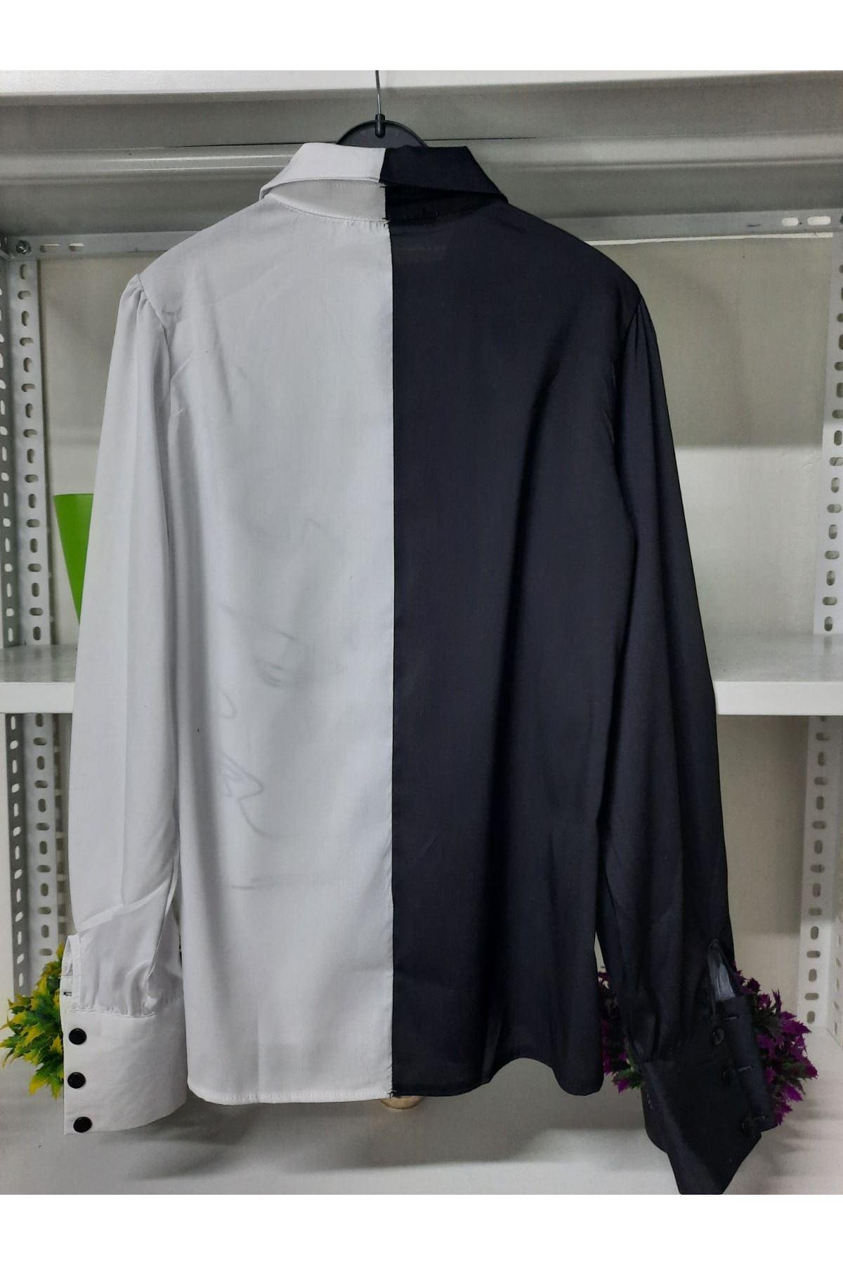 Silüet Desen Poplin Gömlek - MULTİ