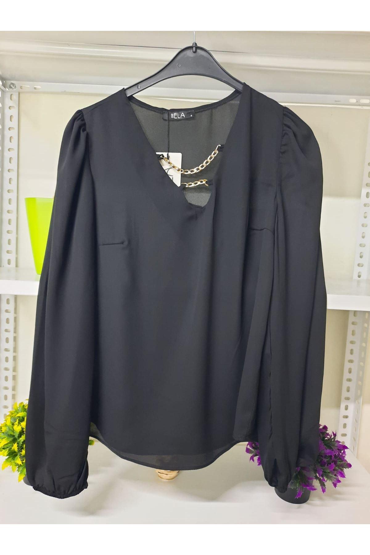 Yaka Zincirli Krep Bluz - siyah