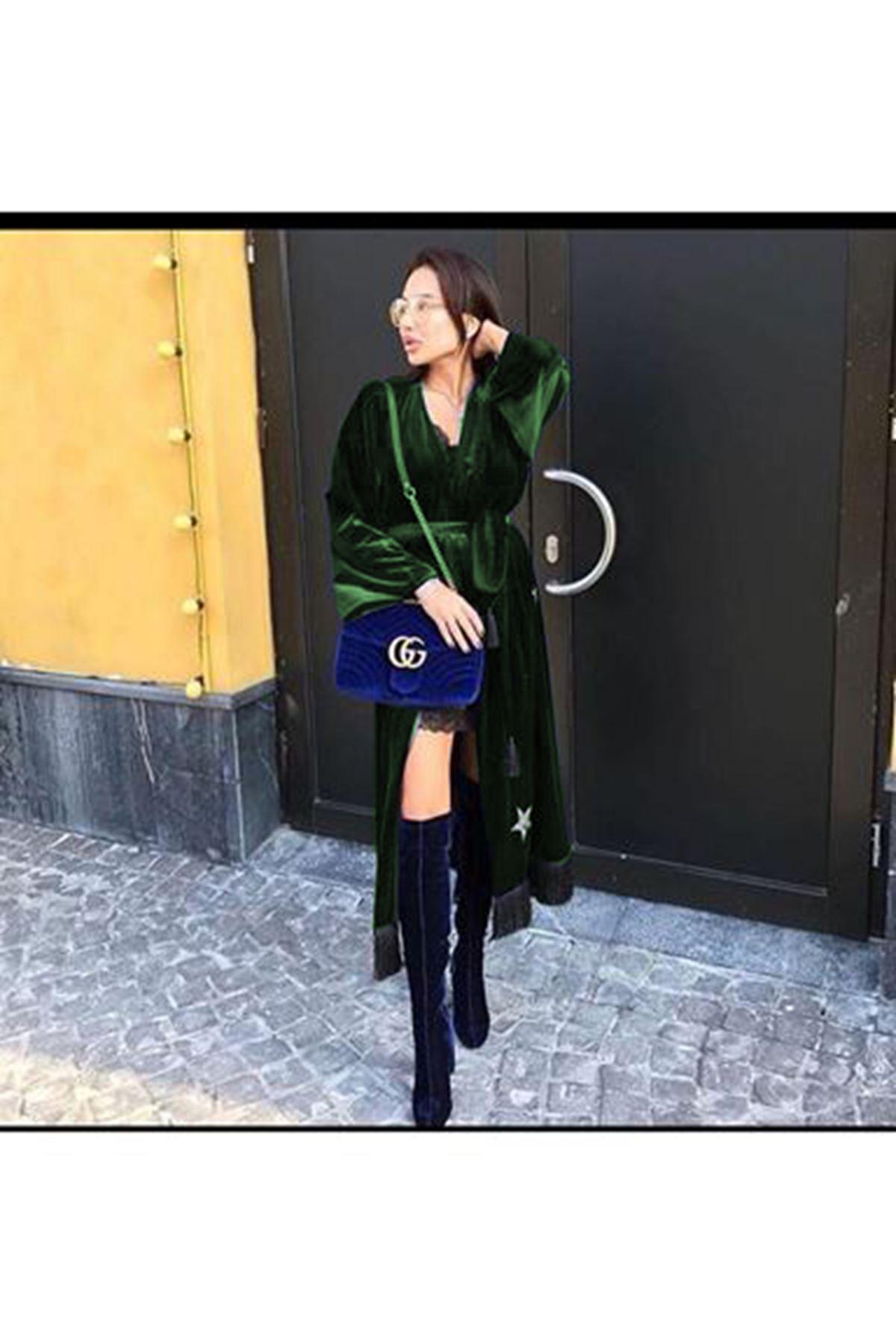 Yıldız Desen Kadife Elbise - haki