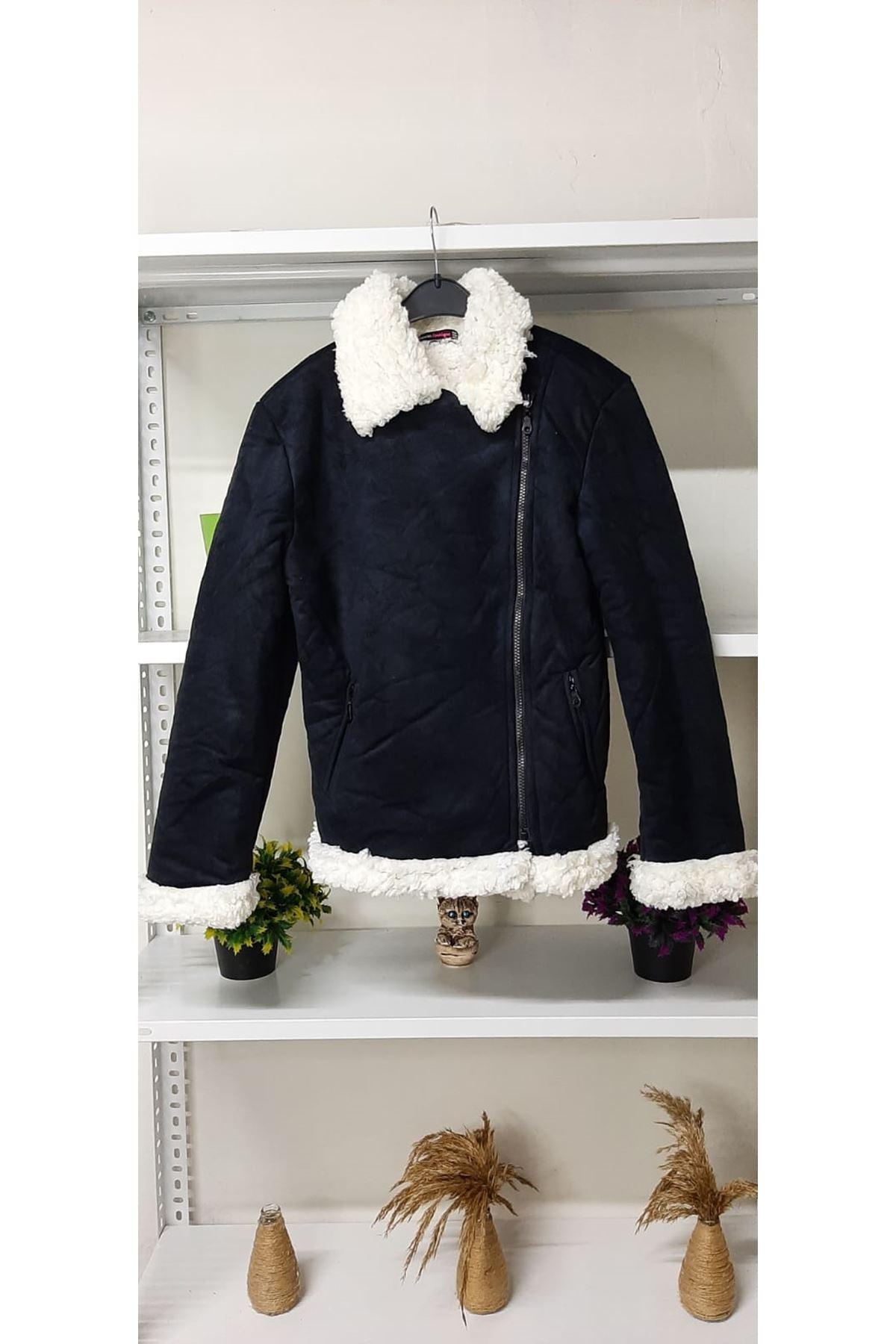 Süet Peluş Ceket - siyah