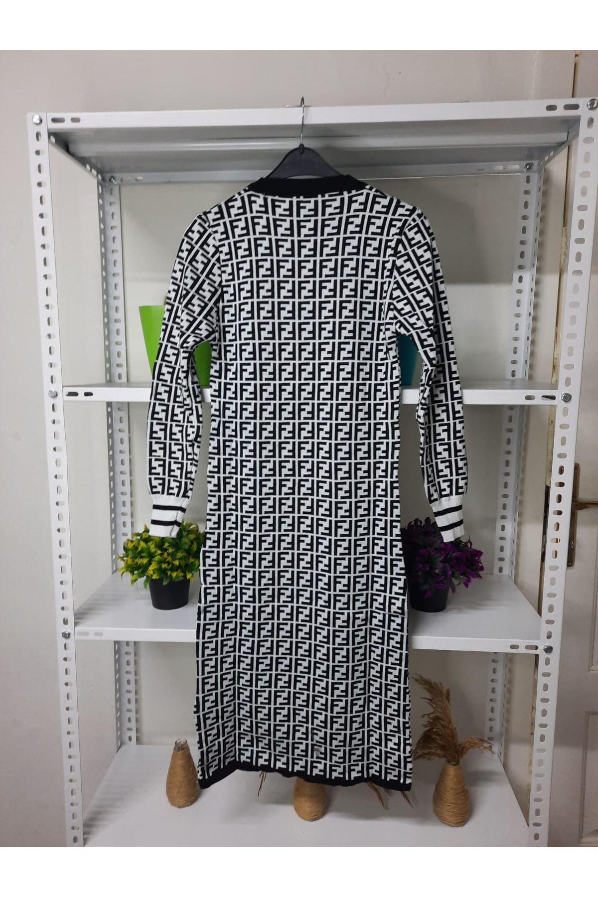 FF Desen Triko Elbise - beyaz