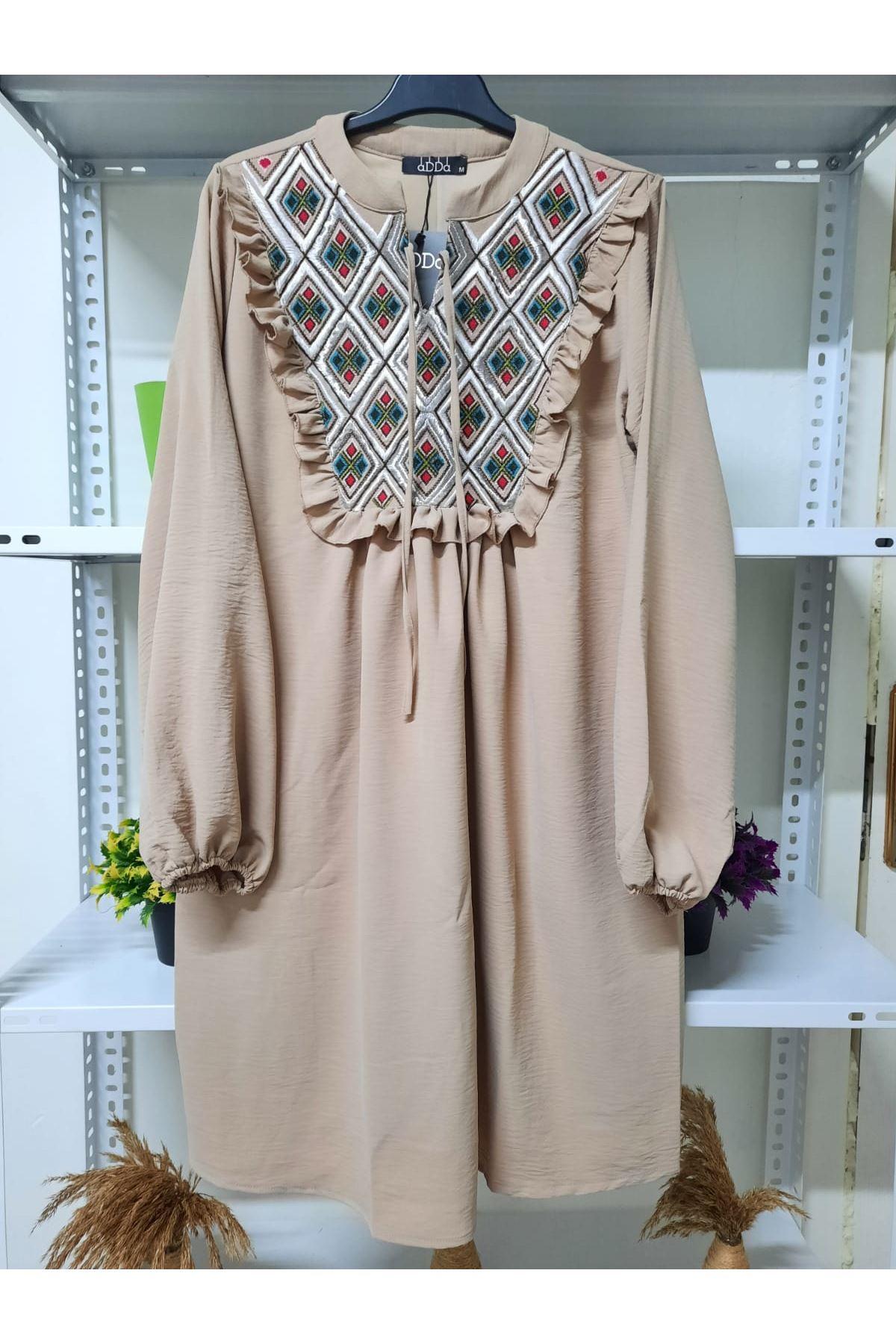 Omuz Fırfır Elbise - bej