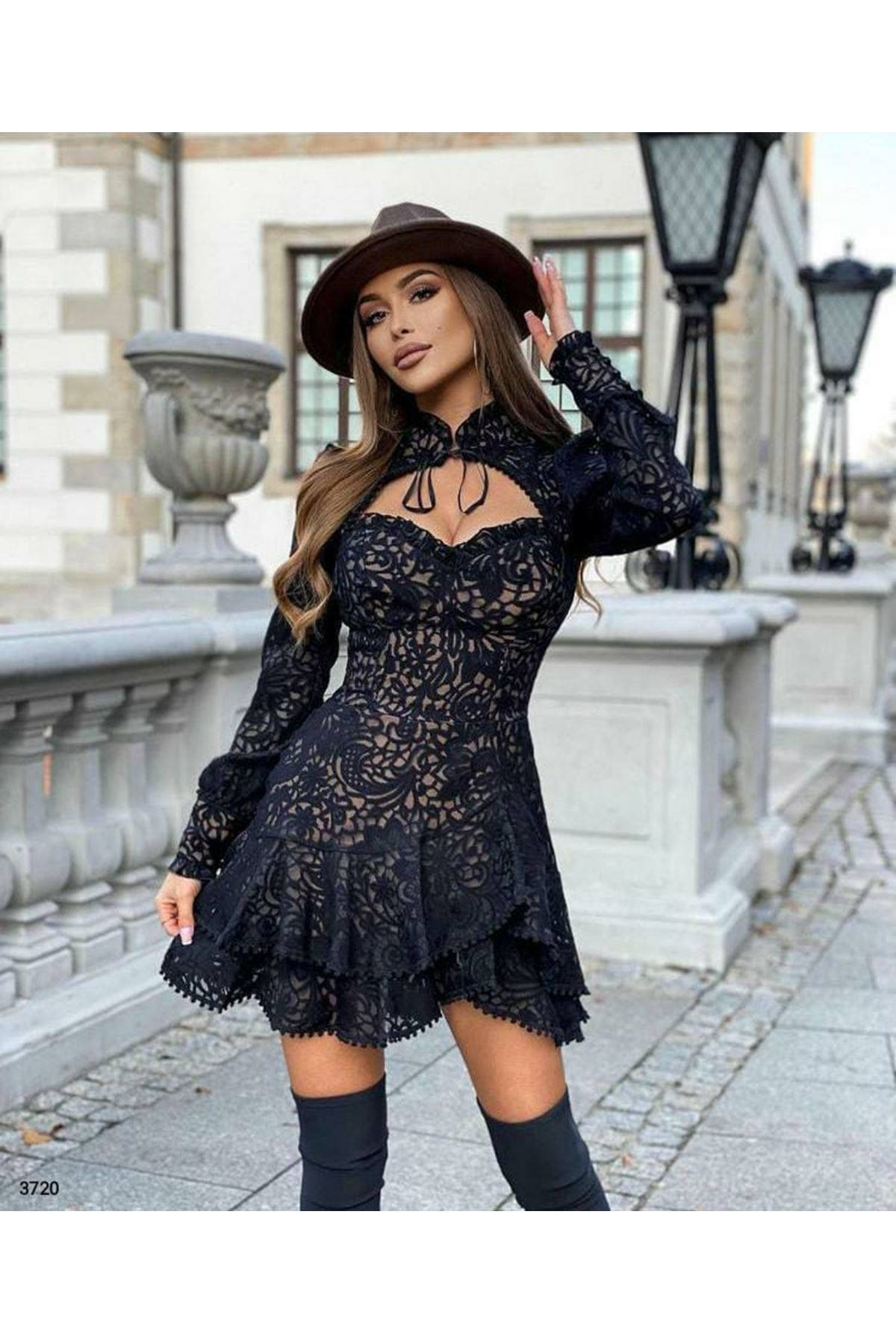 İthal Kumaş Elbise - siyah