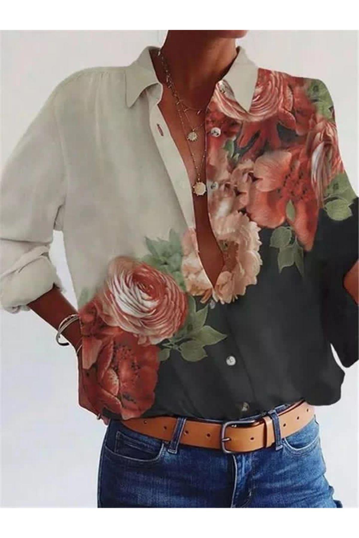 Jessica Kumaş Çiçek Baskılı Gömlek - MULTİ