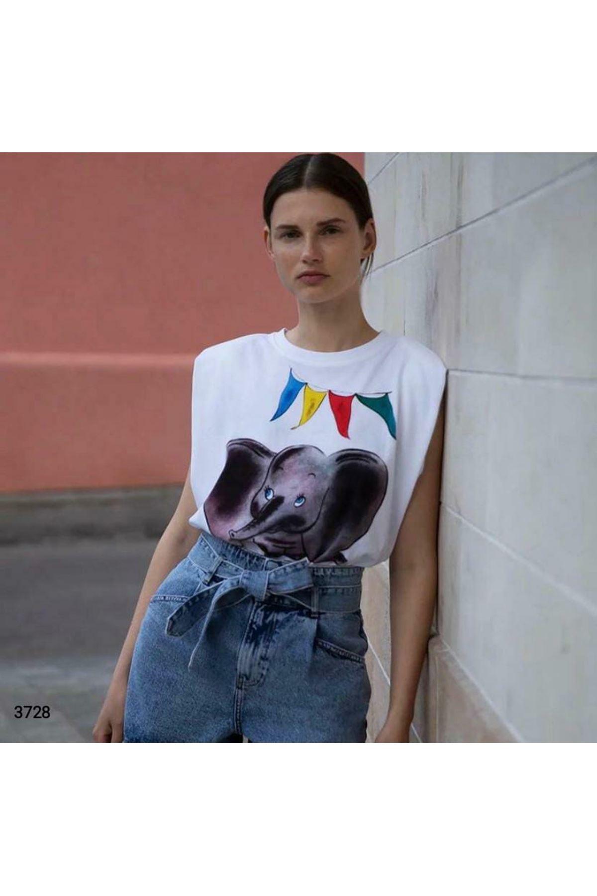 Fil Baskılı Vatkalı T-shirt - BEYAZ