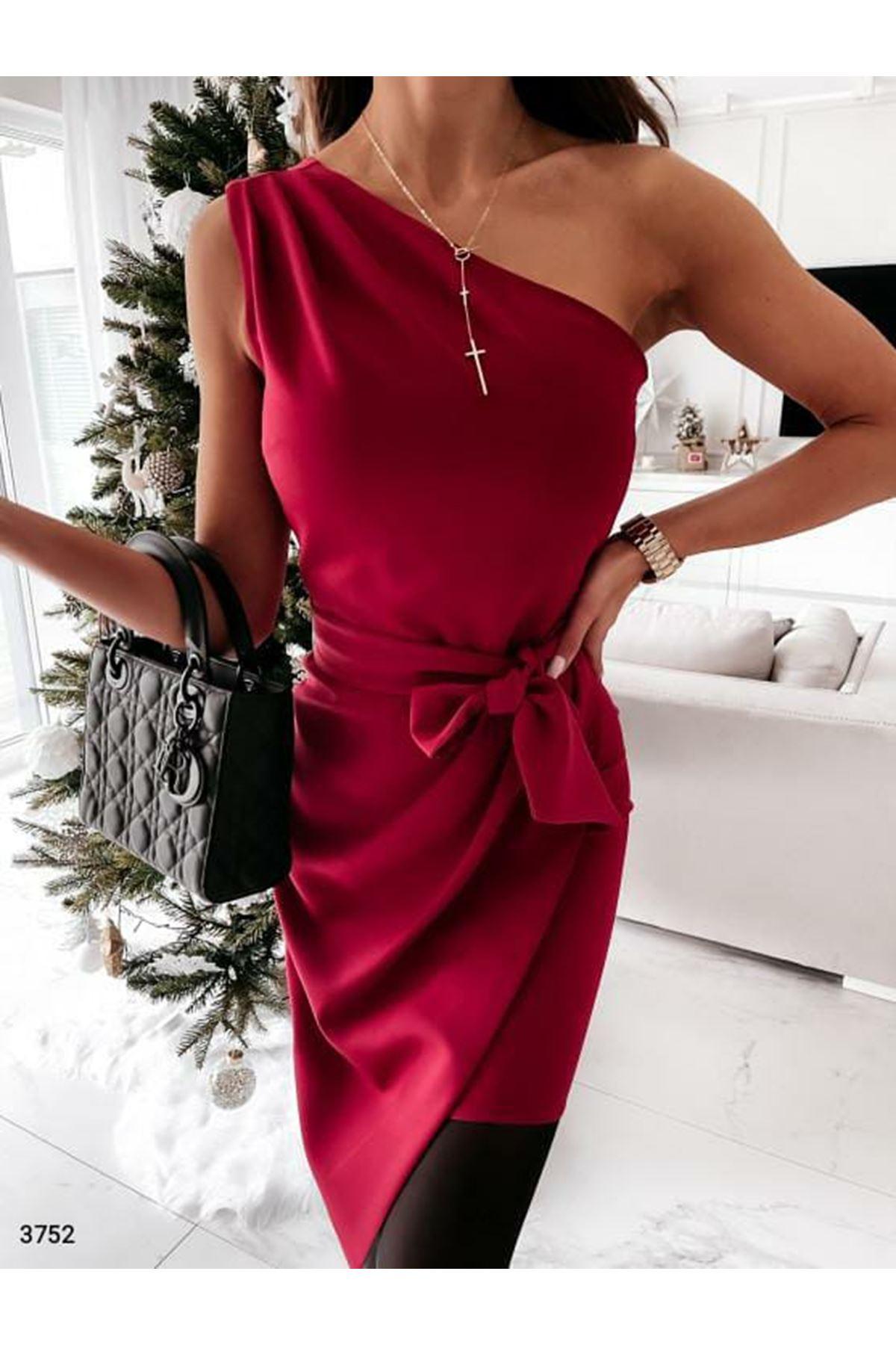 Tek Omuz Kuşaklı Elbise  - bordo
