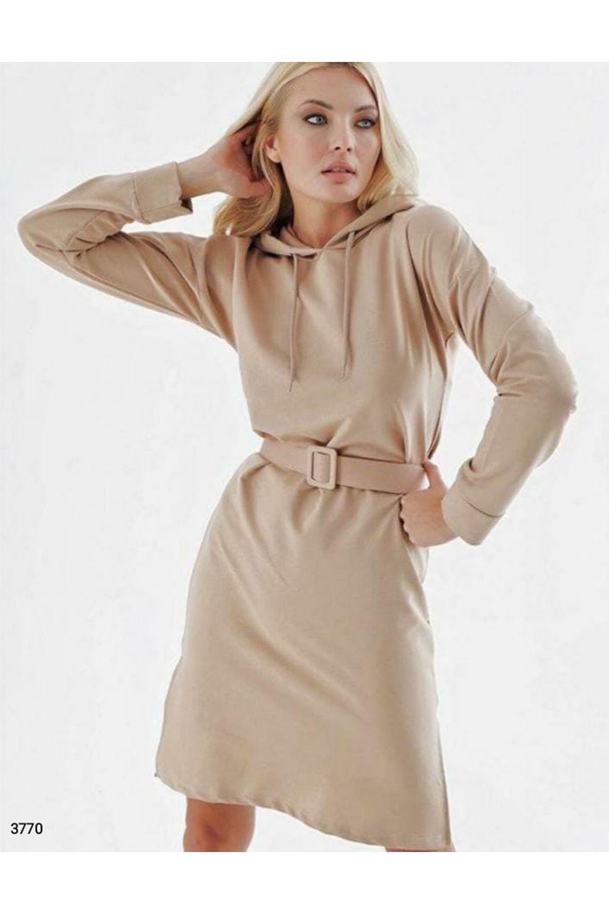 Kapüşonlu ve Kemerli Tunik Elbise - bej