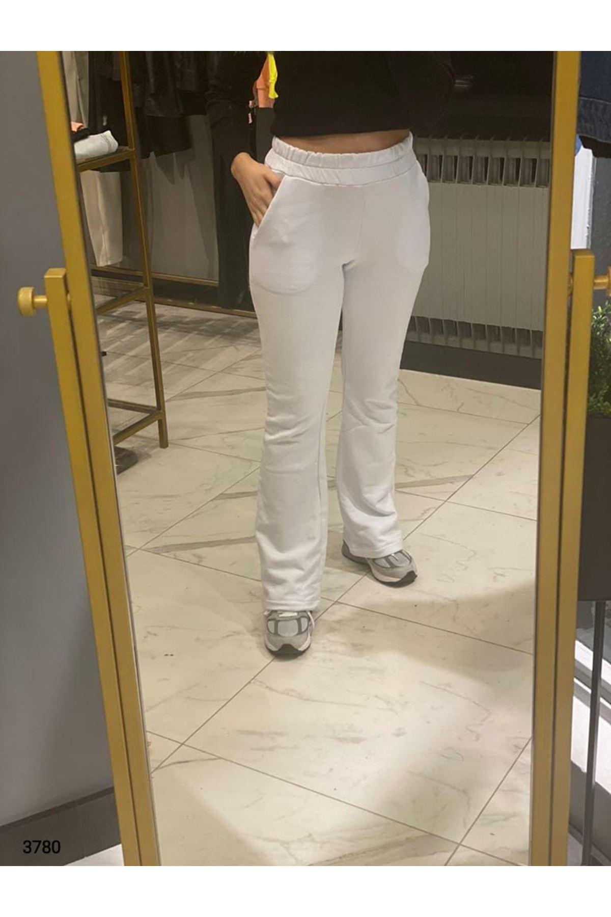 Bel Lastikli Bol Paça Pantolon - beyaz