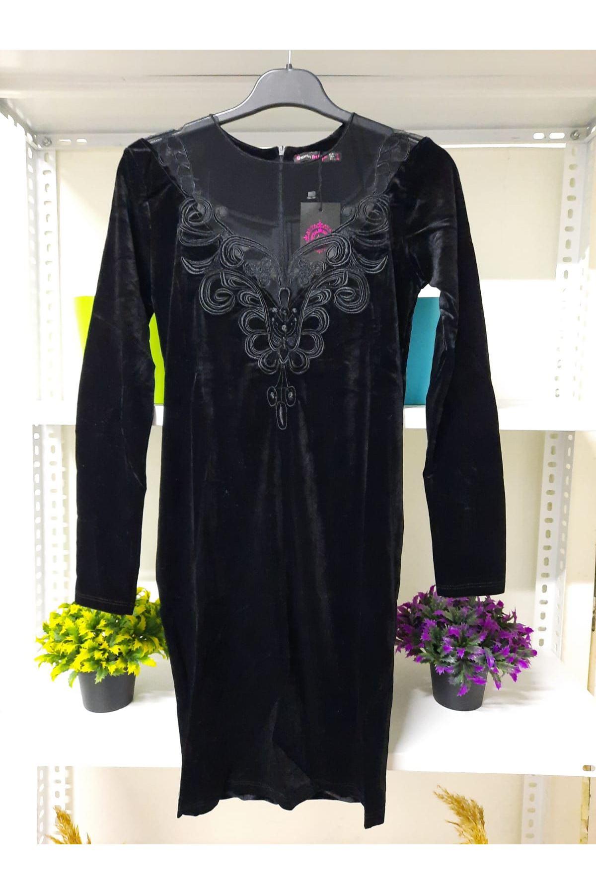Dantel Detaylı Kadife Elbise - SİYAH