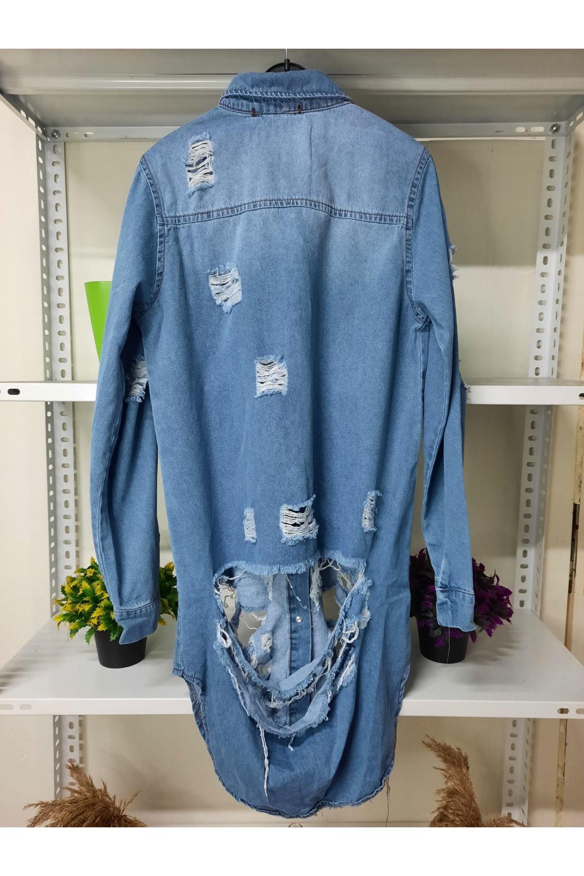 Yırtık Detaylı Kot Gömlek - mavi