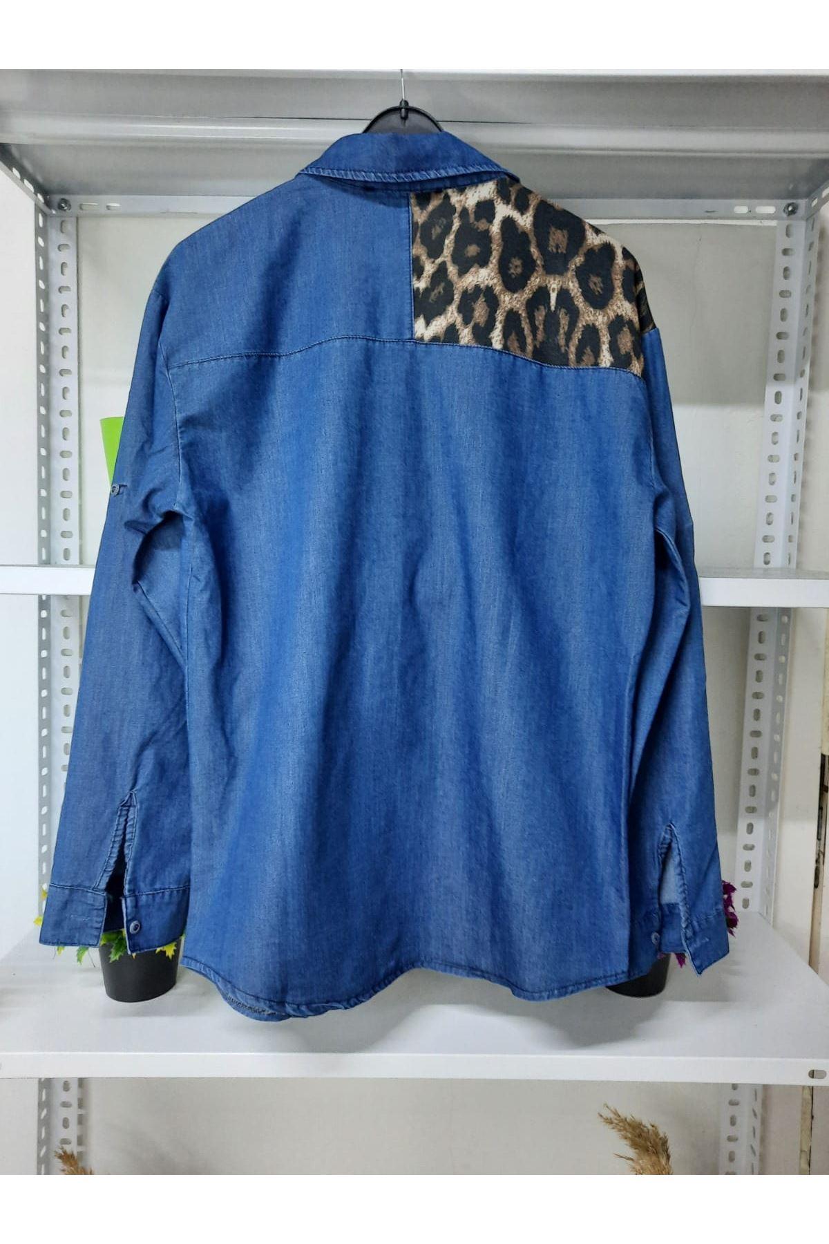 Leopar Detaylı Kot Gömlek - mavi