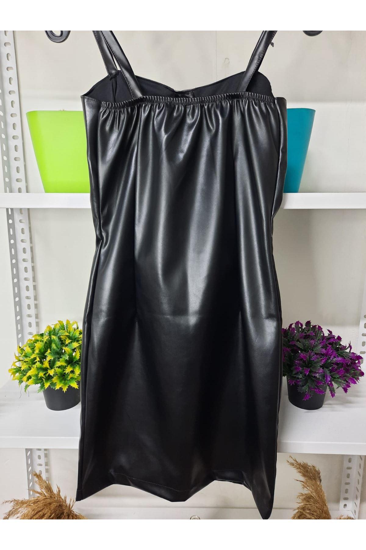 Askılı Düğme Detaylı Elbise - siyah