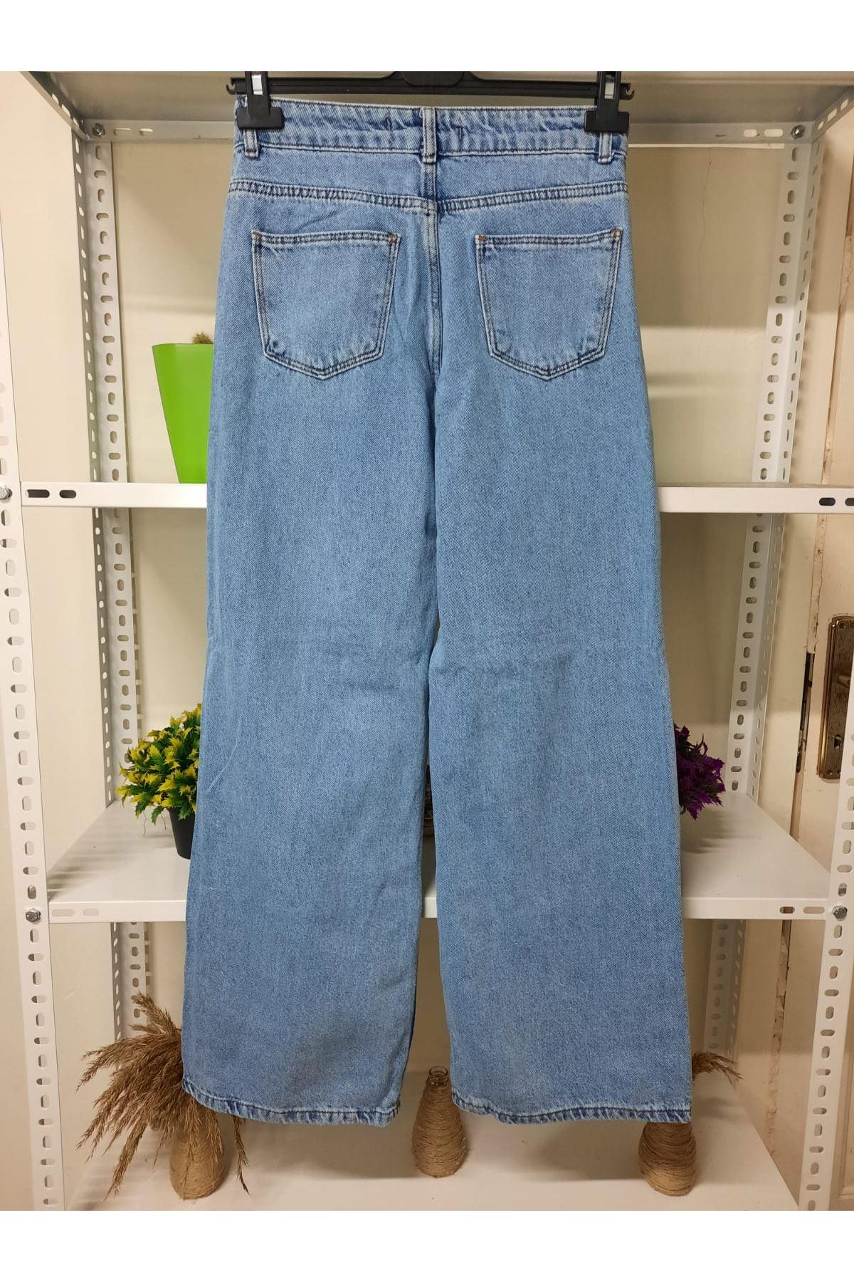 Yırtıklı Kot Pantolon  - mavi