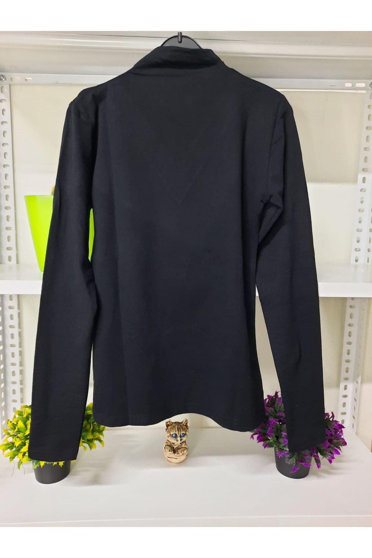 Dantel ve Taş Detaylı Bluz - siyah