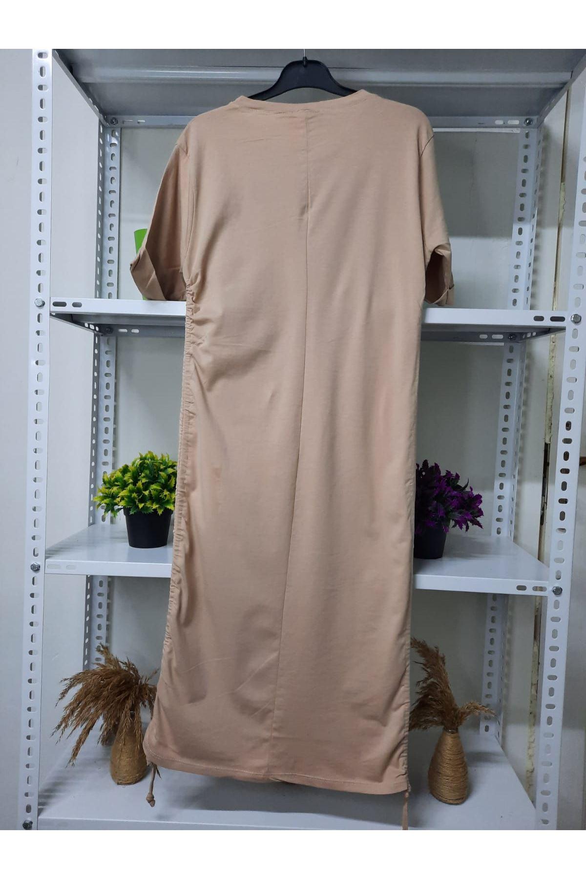 Yanları Büzgülü Elbise  - bej
