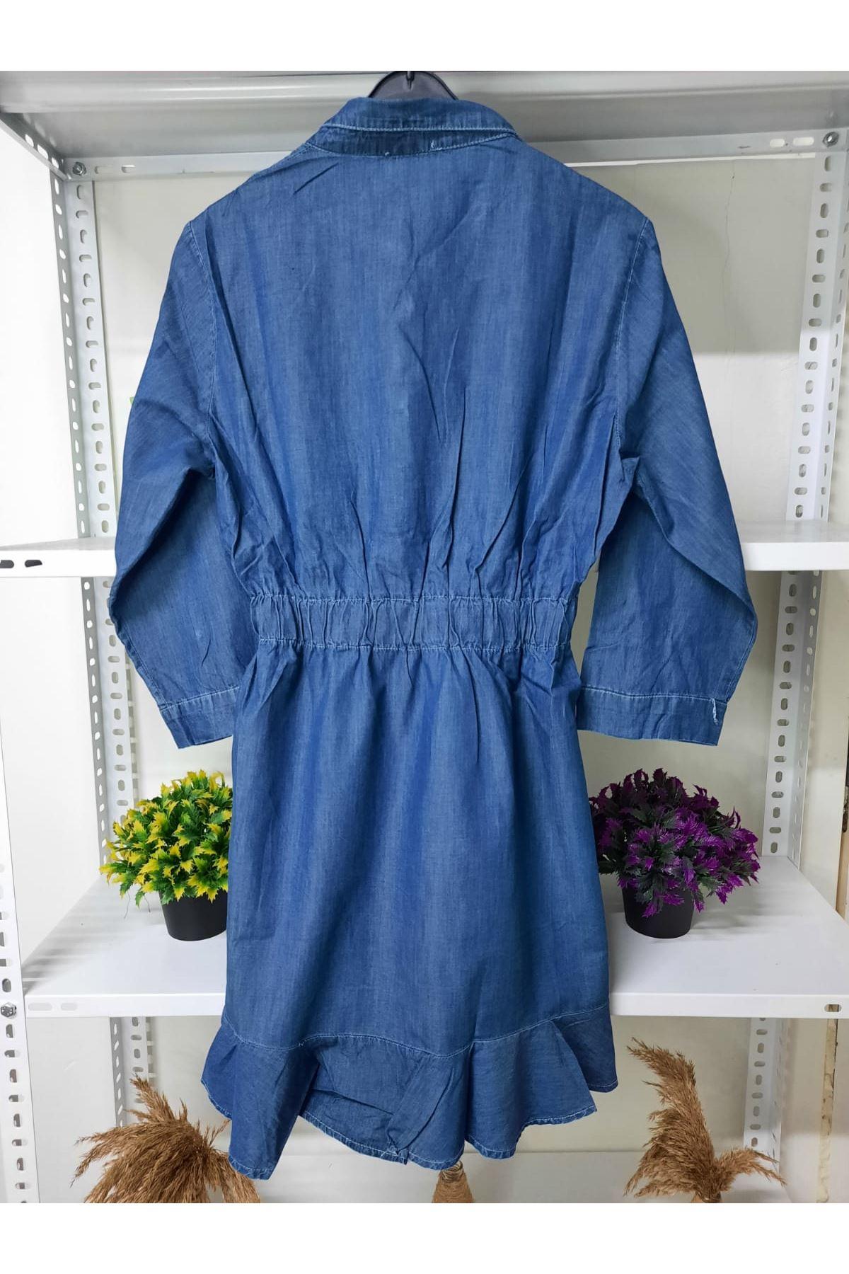 Eteği Fırfır Kot Elbise - mavi