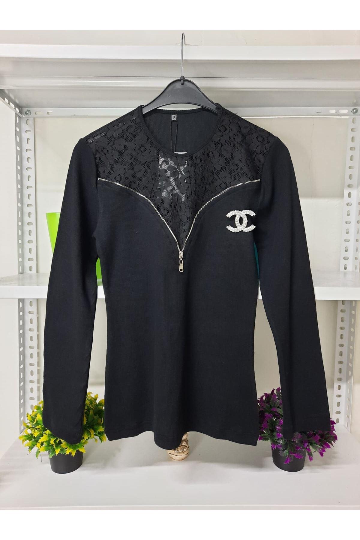 CC Rozetli Kaşkorse Bluz - siyah