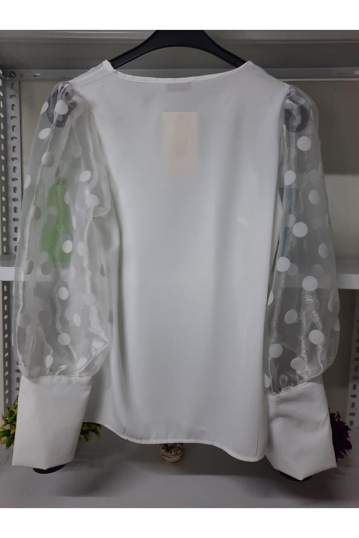 Kol Puantiye ve Tül Detaylı Bluz - BEYAZ