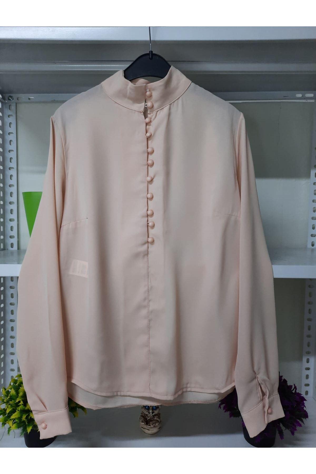 Düğme Detaylı Bluz - PUDRA