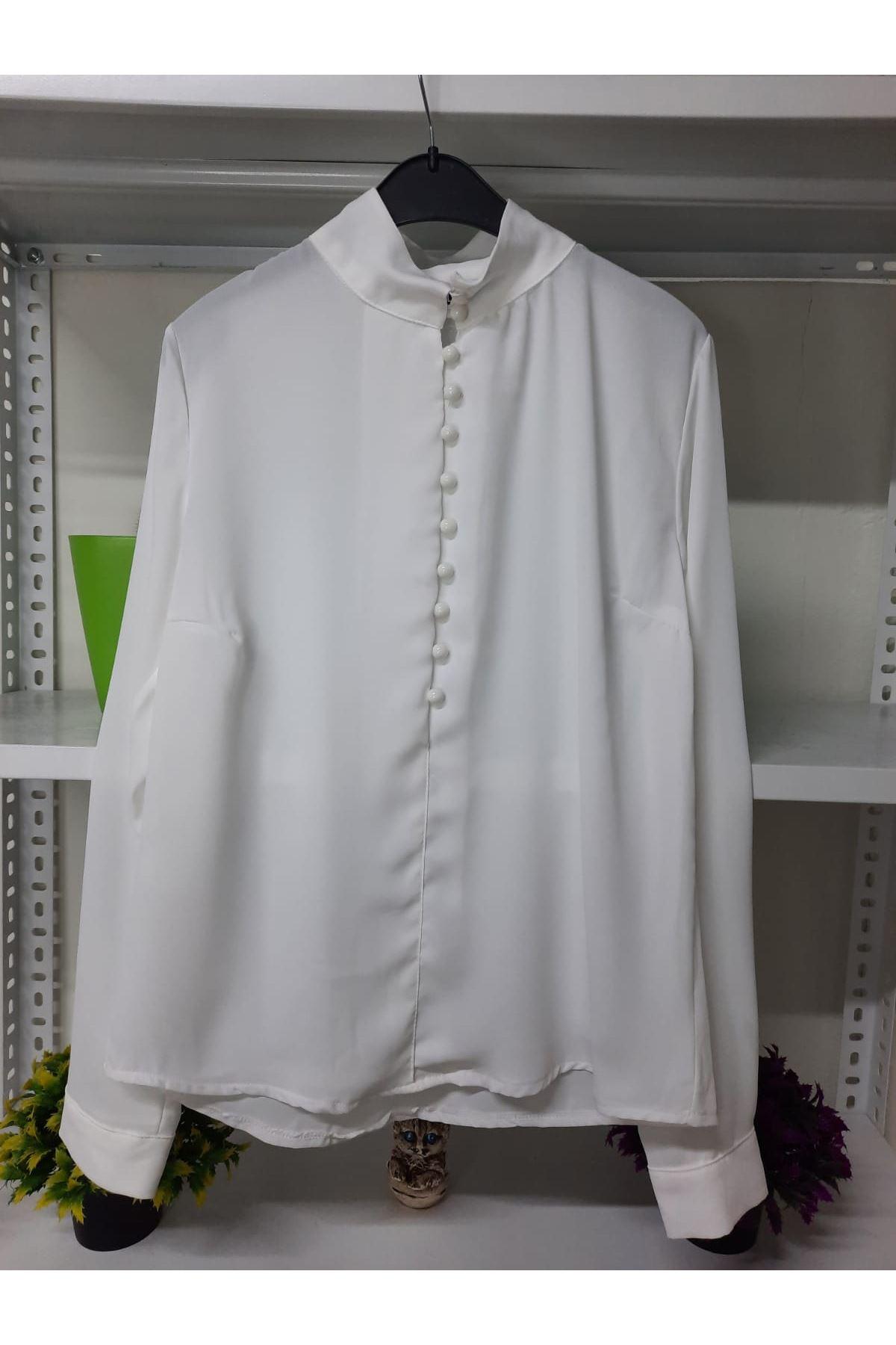 Düğme Detaylı Bluz - ekru